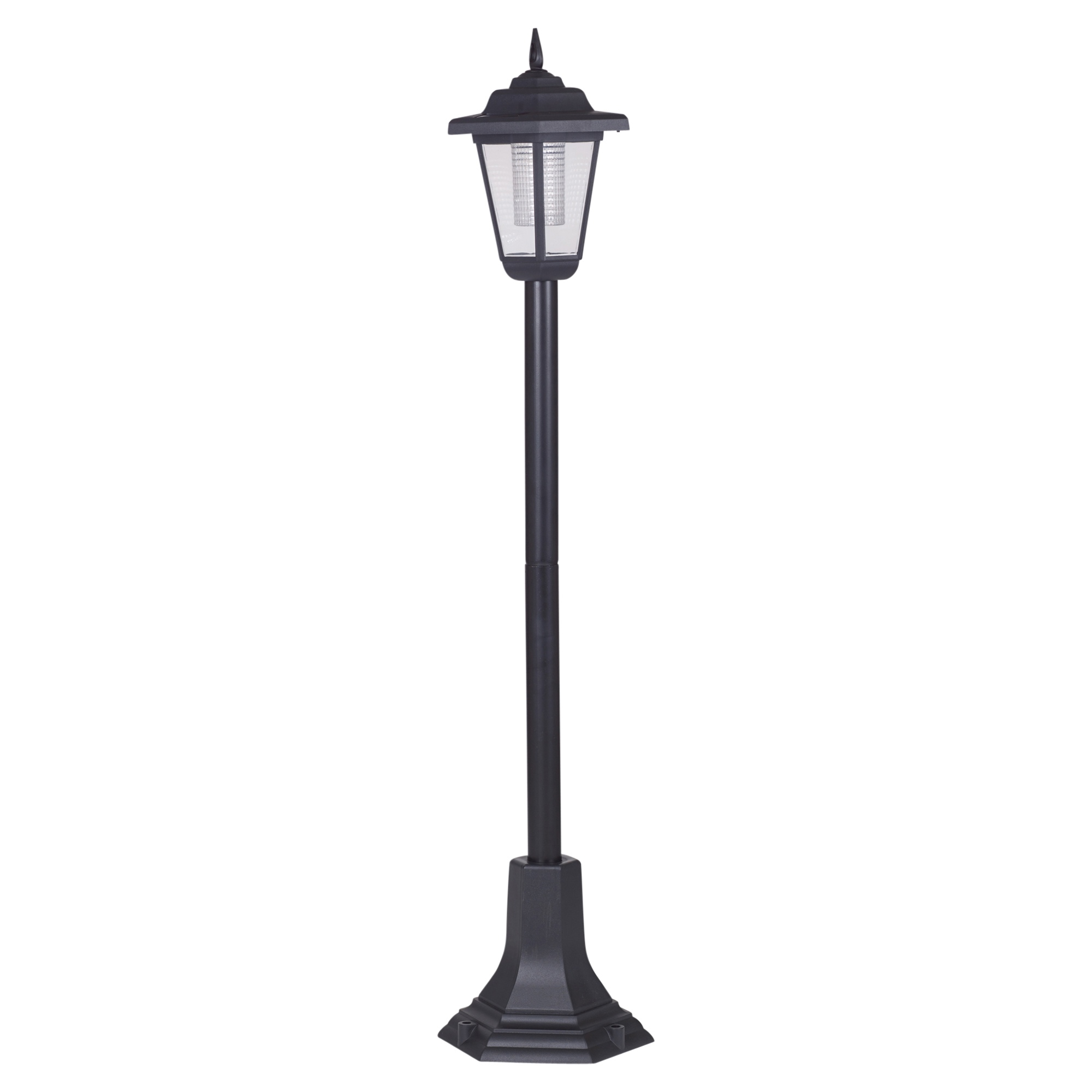 4 Foot Outdoor Solar Powered Lamp Post With: Solar Powered Garden Lights Lantern Lamp Black LED Pathway