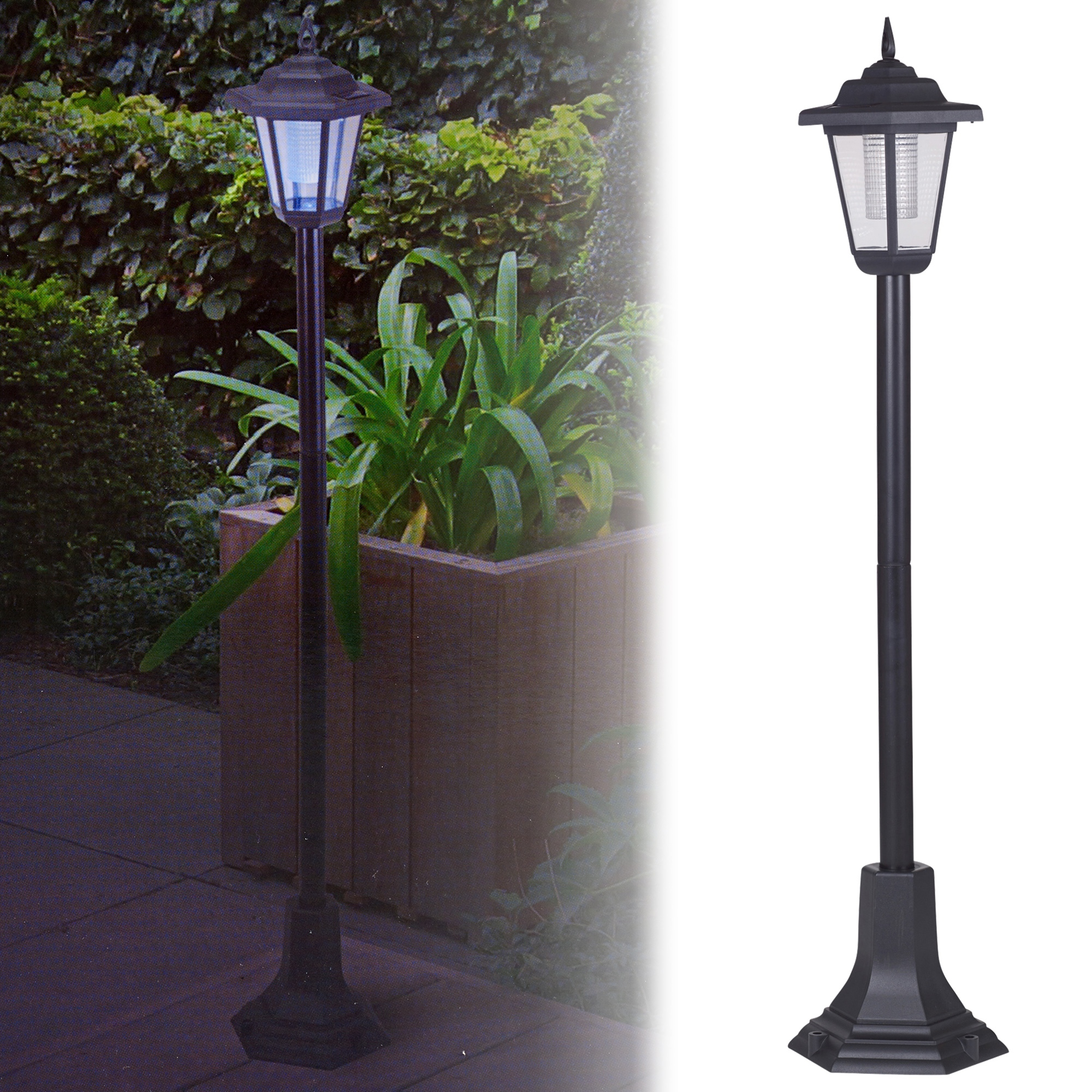Solar powered garden lights lantern lamp black led pathway driveway outdoor post ebay for Solar exterior post lantern light