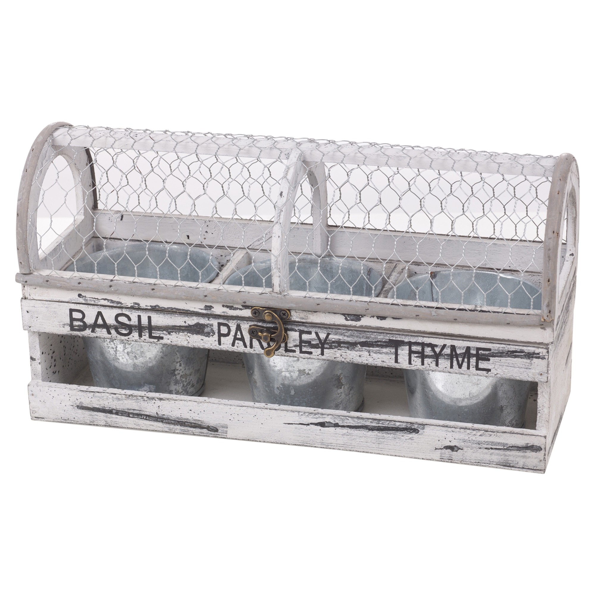 Shabby Chic Wooden Seed Herb Pots Box Trough Indoor