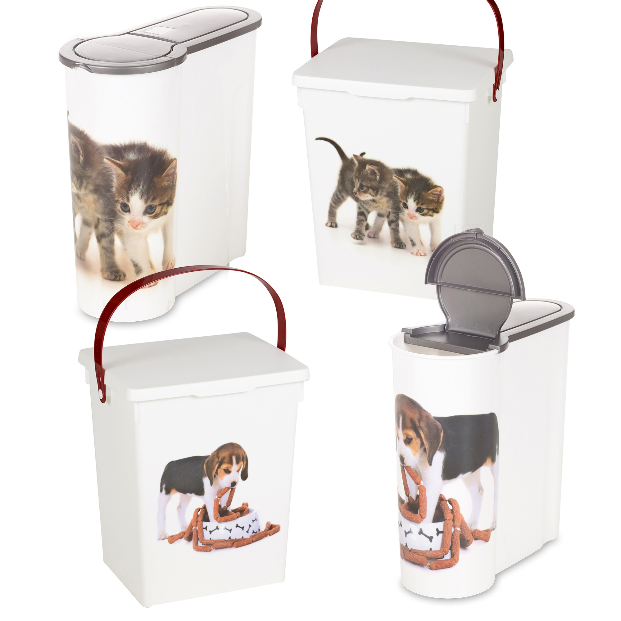 Cat Dog Pet Food Storage Container Box Bucket Bin Table