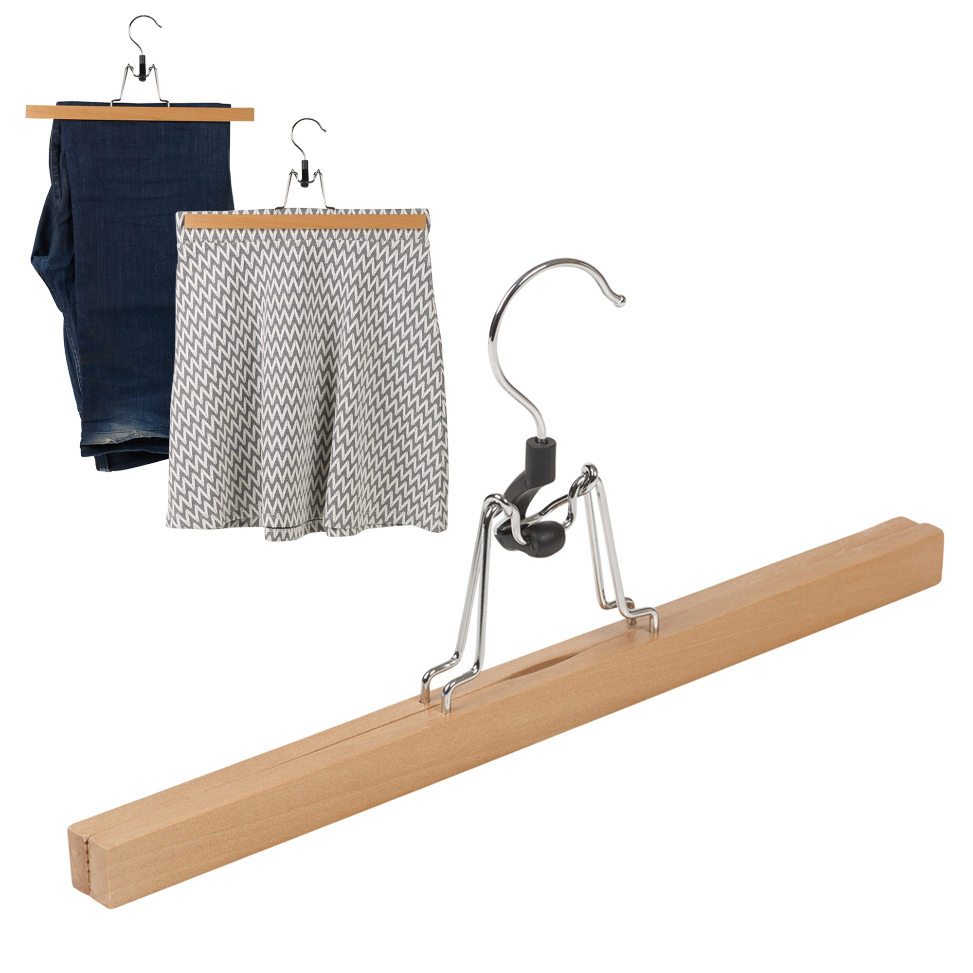 12 natural wood wooden clothes trousers skirt clip clamp hangers 33cm storage ebay. Black Bedroom Furniture Sets. Home Design Ideas