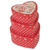 Gift Box 3Pc Red Doily Heart Flowers [445221]