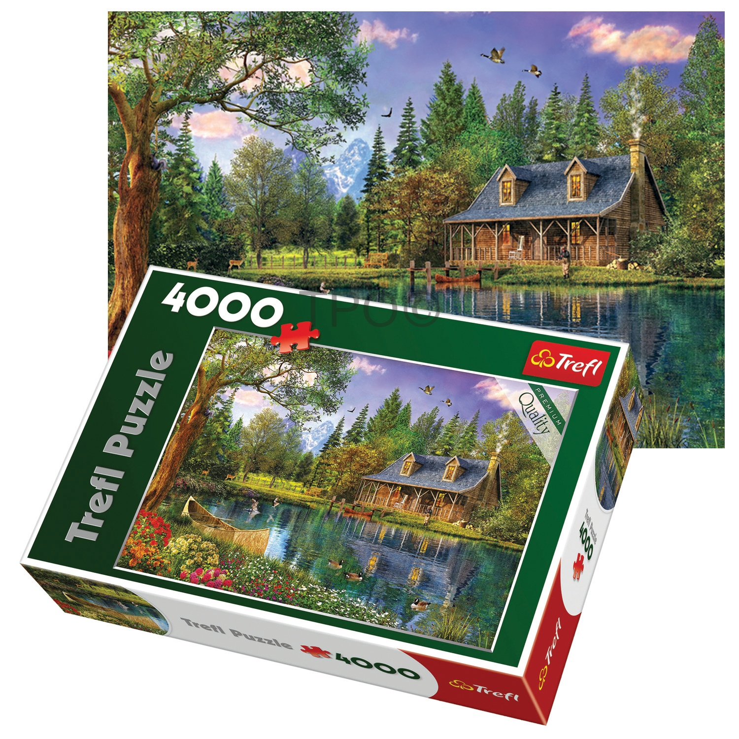 trefl 4000 piece adult large afternoon idyll cottage lake floor jigsaw puzzle ebay. Black Bedroom Furniture Sets. Home Design Ideas