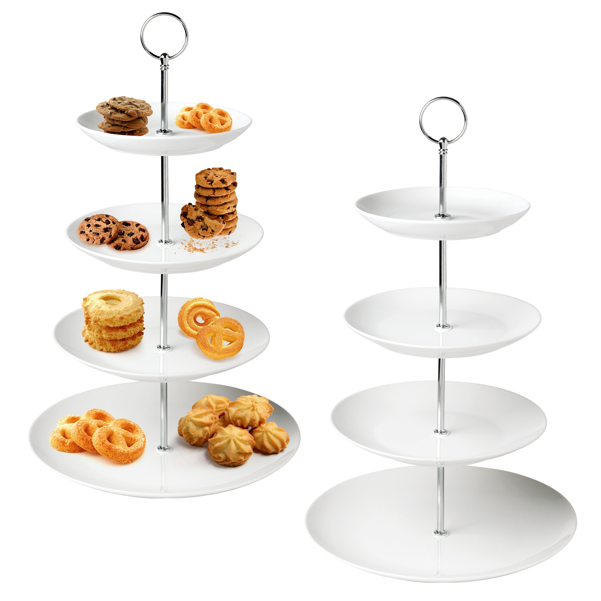 4 Tier Layer White Ceramic Cup Cake Food Stand Round