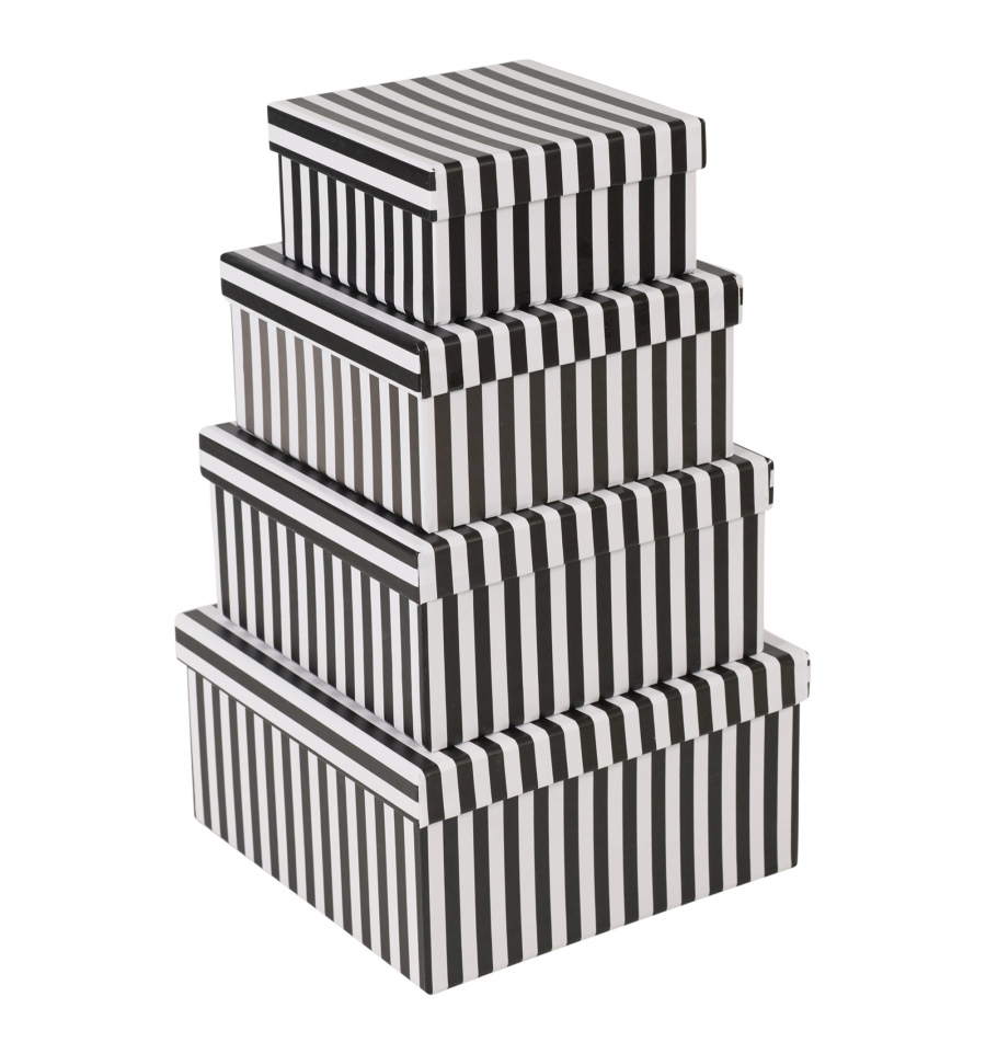 Celebration & Occasion > Gifts > Gift Box 4Pc Black+ White Striped ...