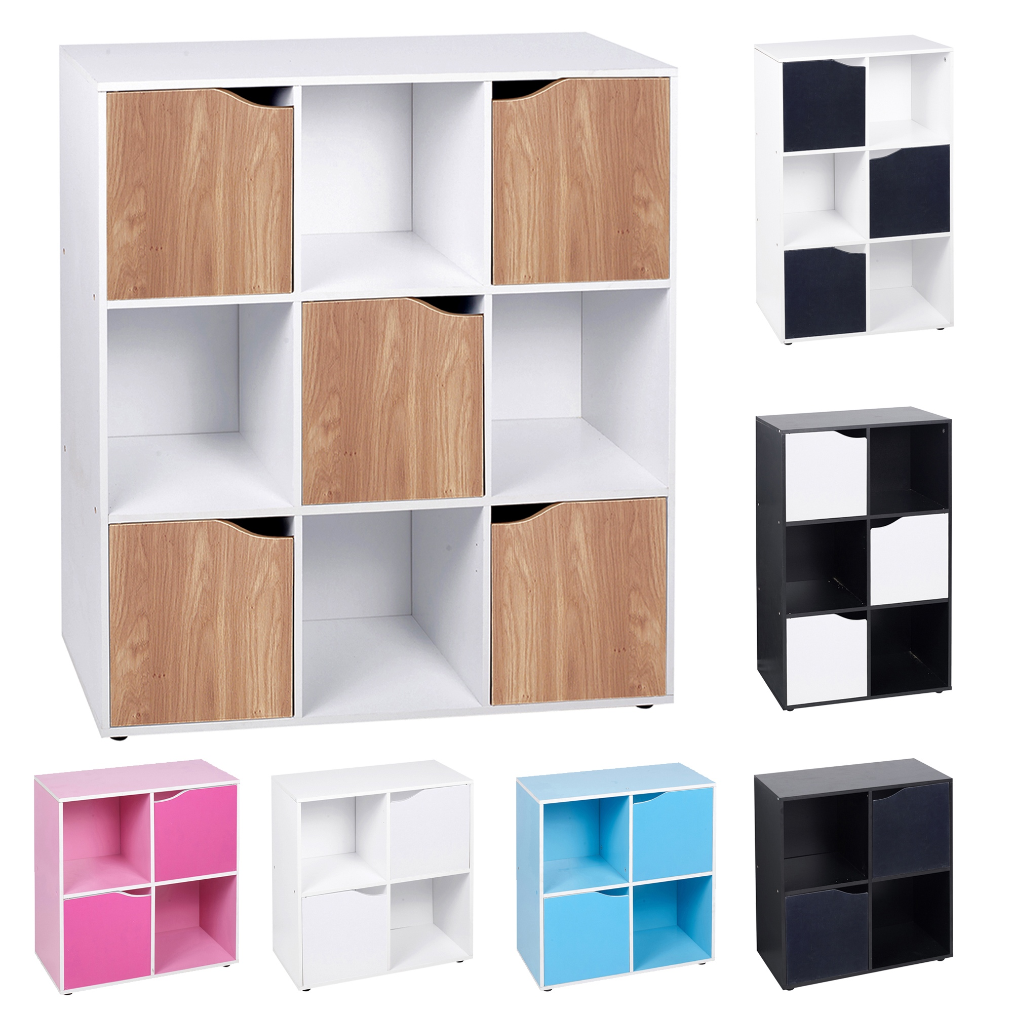 4//6//9 Cube Wooden Standing Unit Shelf Storing Books CDs/&DVDs Storage Office Home