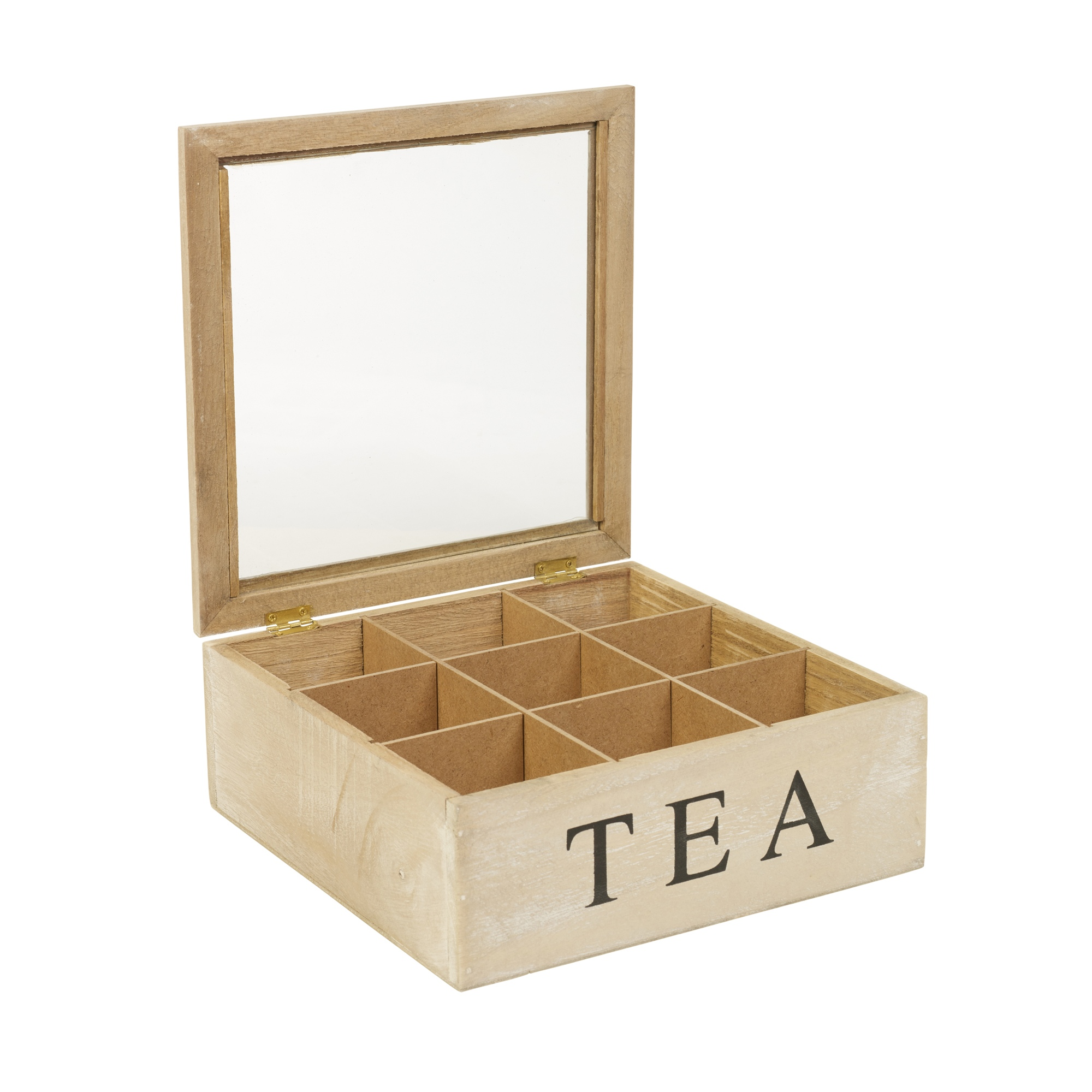 5 6 or 9 Compartments Wooden Tea Box Hinged Lid Tea Bag ...