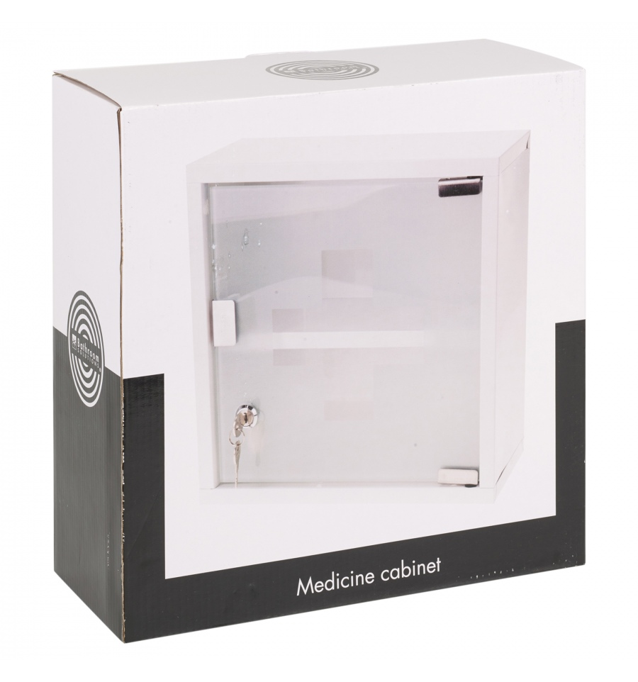 Wall mountable medicine cabinet first aid lockable glass for Bathroom cupboard storage solutions