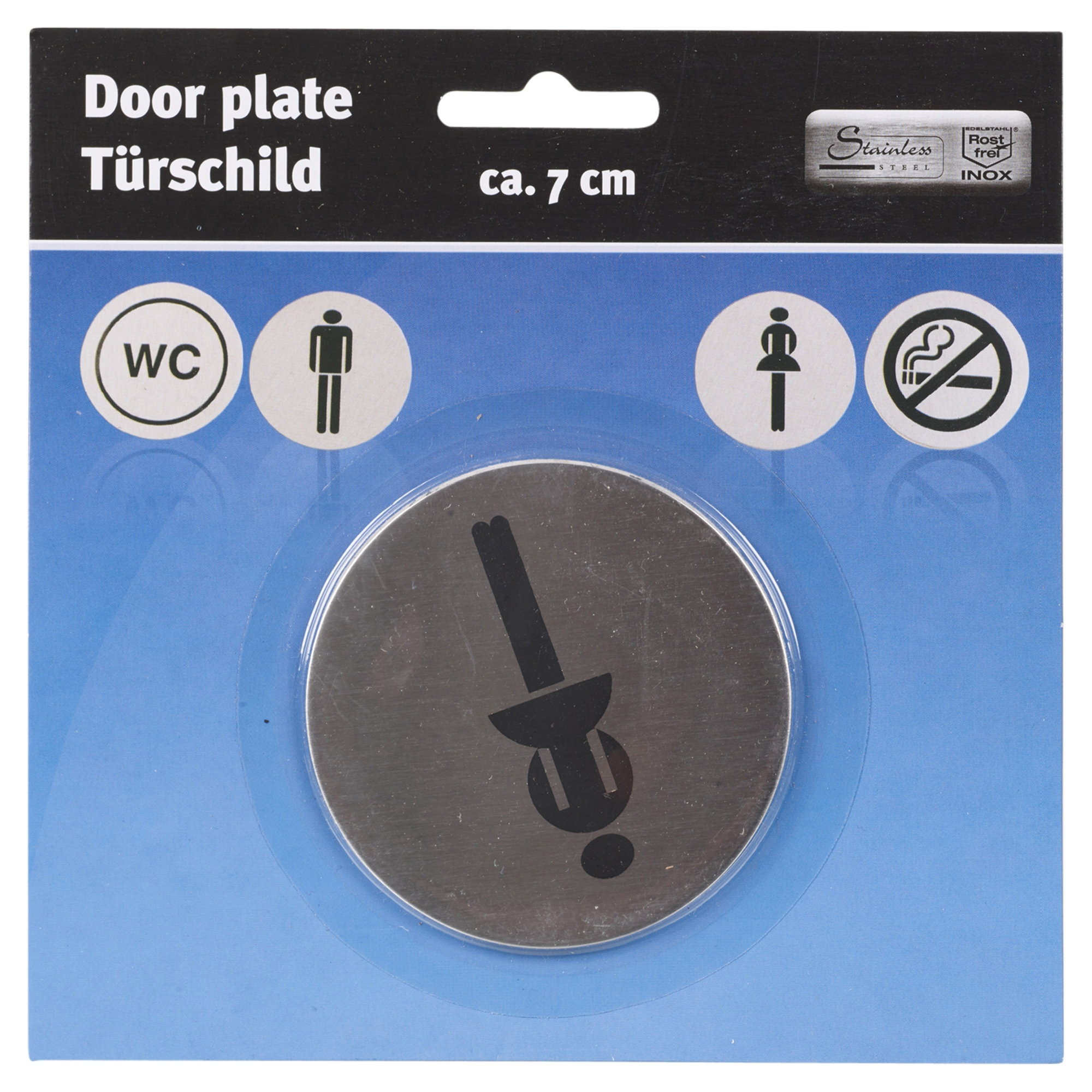 Set Of Round Circular Silver Stainless Steel Toilet Shop Bathroom Plate Signs Ebay