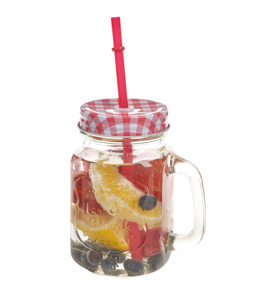 Glass Juice Jar With Straw Drinking Glass With Handle