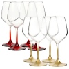 4 Pcs Bormioli Rocco Coloured Stem Wine Glasses