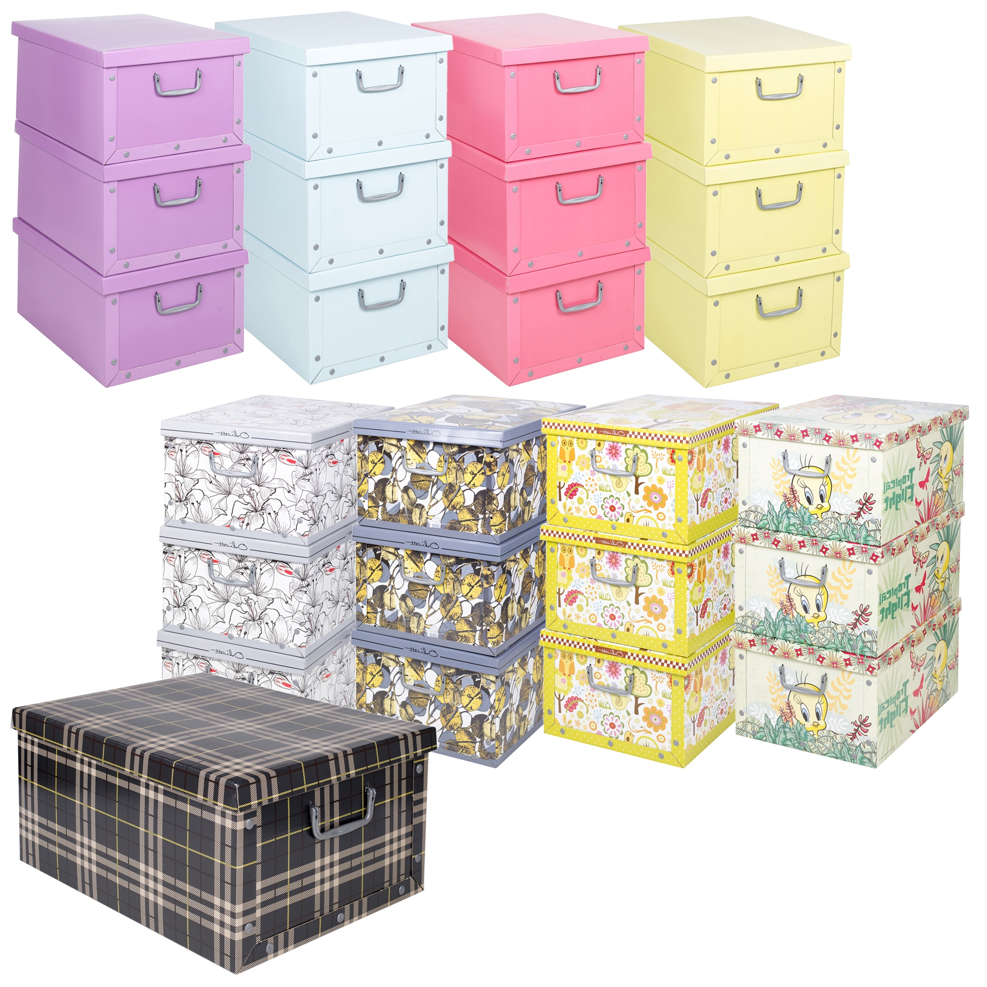 Set Of 3 Underbed Storage Boxes With Lid Handles Clothes