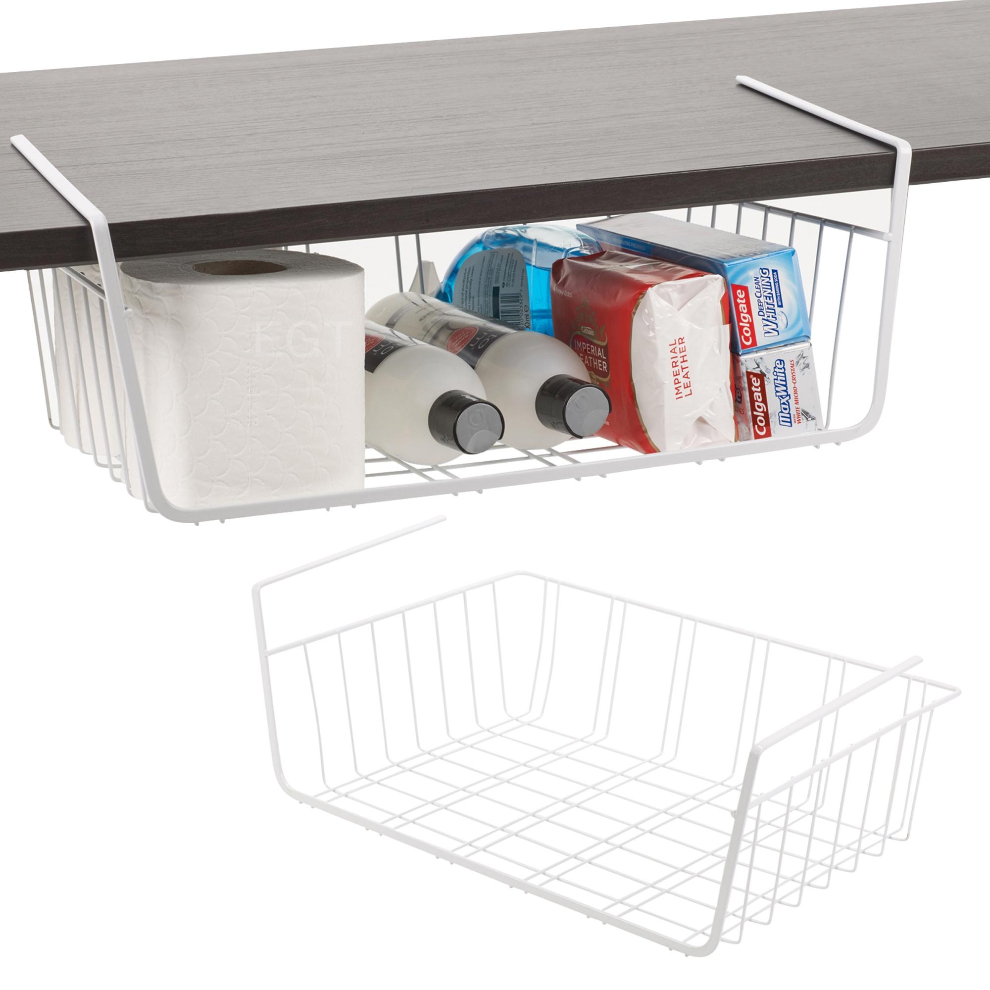 2 X Under Shelf Table Storage Basket Rack Kitchen Wire