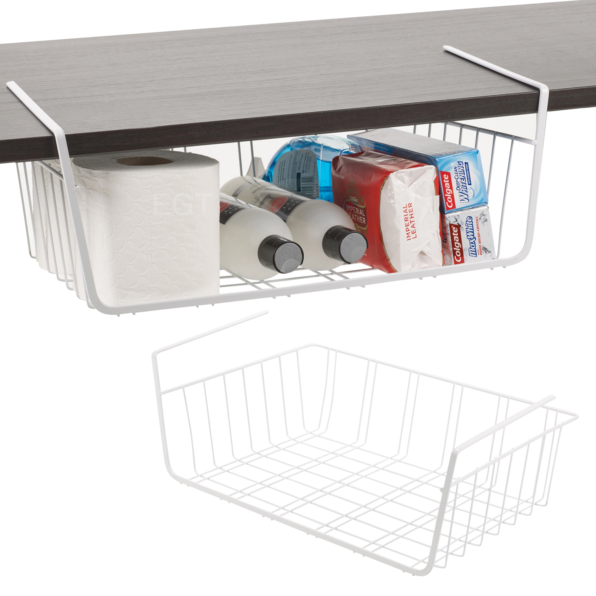 2 x under shelf table storage basket rack kitchen wire. Black Bedroom Furniture Sets. Home Design Ideas