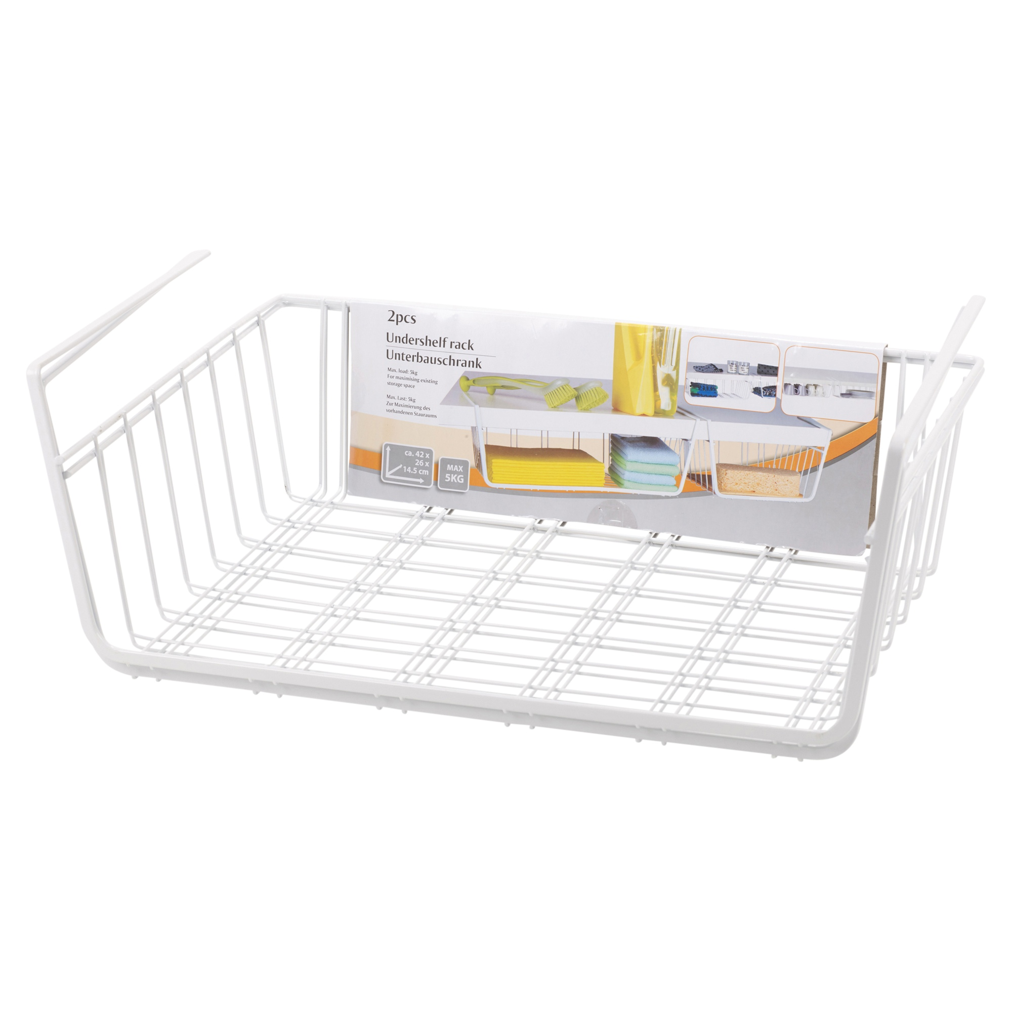 2 X Under Shelf Table Storage Basket Rack Kitchen Wire