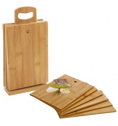 7pcs Bamboo Chopping Board Set & Stand  [729206]