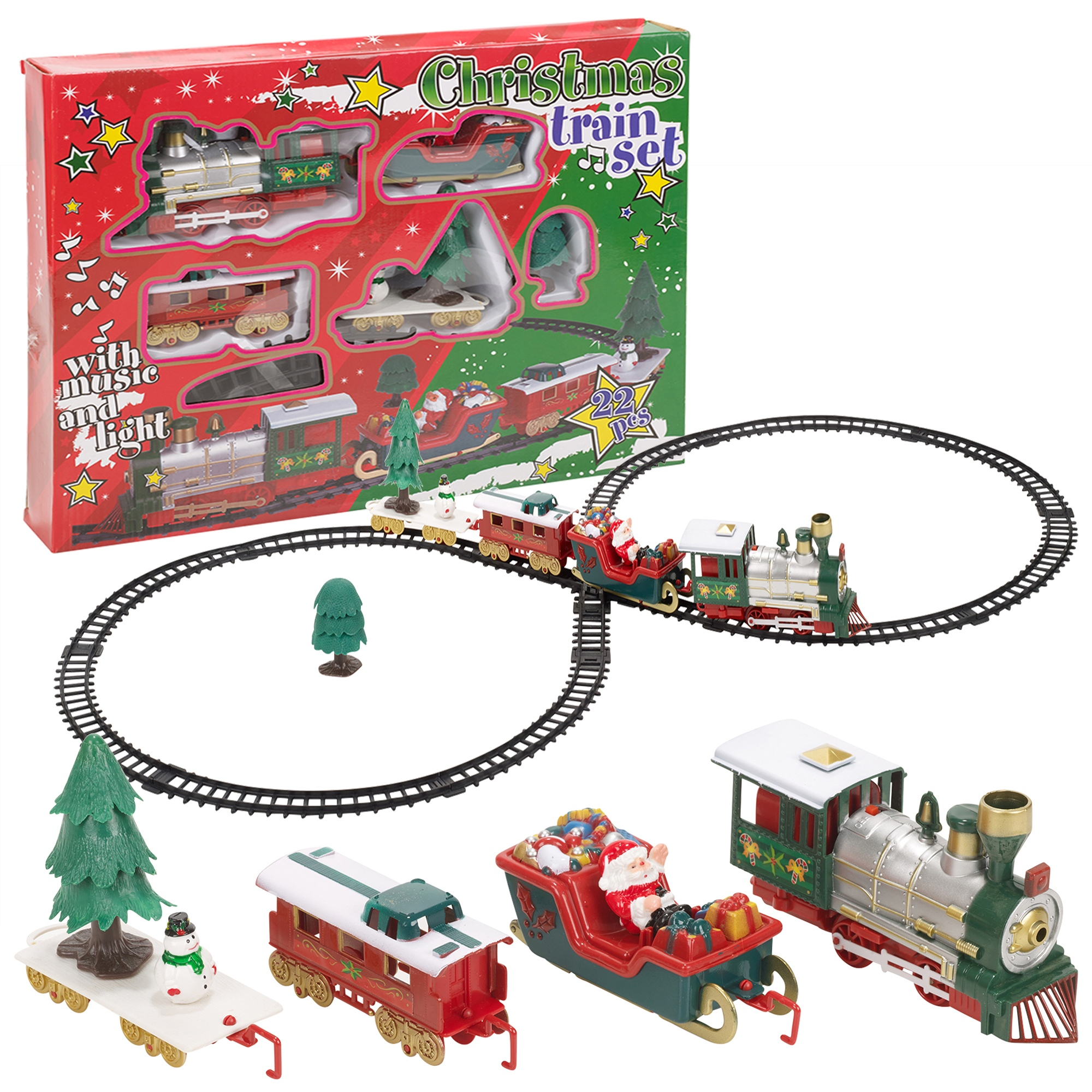 christmas musical train track toys set kids party. Black Bedroom Furniture Sets. Home Design Ideas