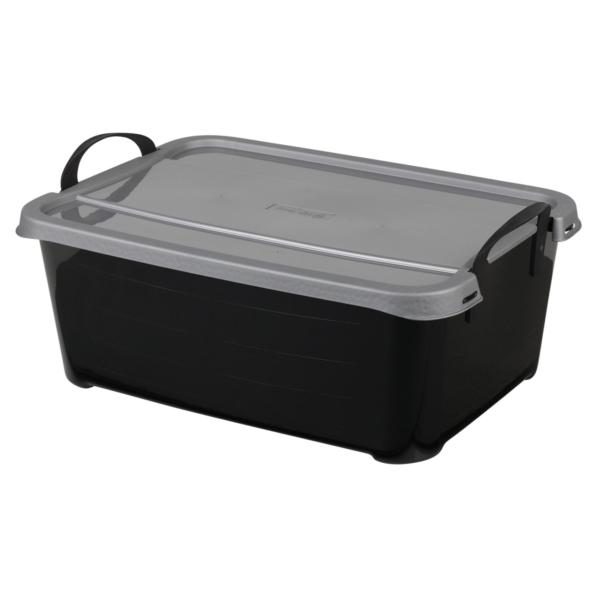 underbed plastic storage boxes with lids carry handles. Black Bedroom Furniture Sets. Home Design Ideas