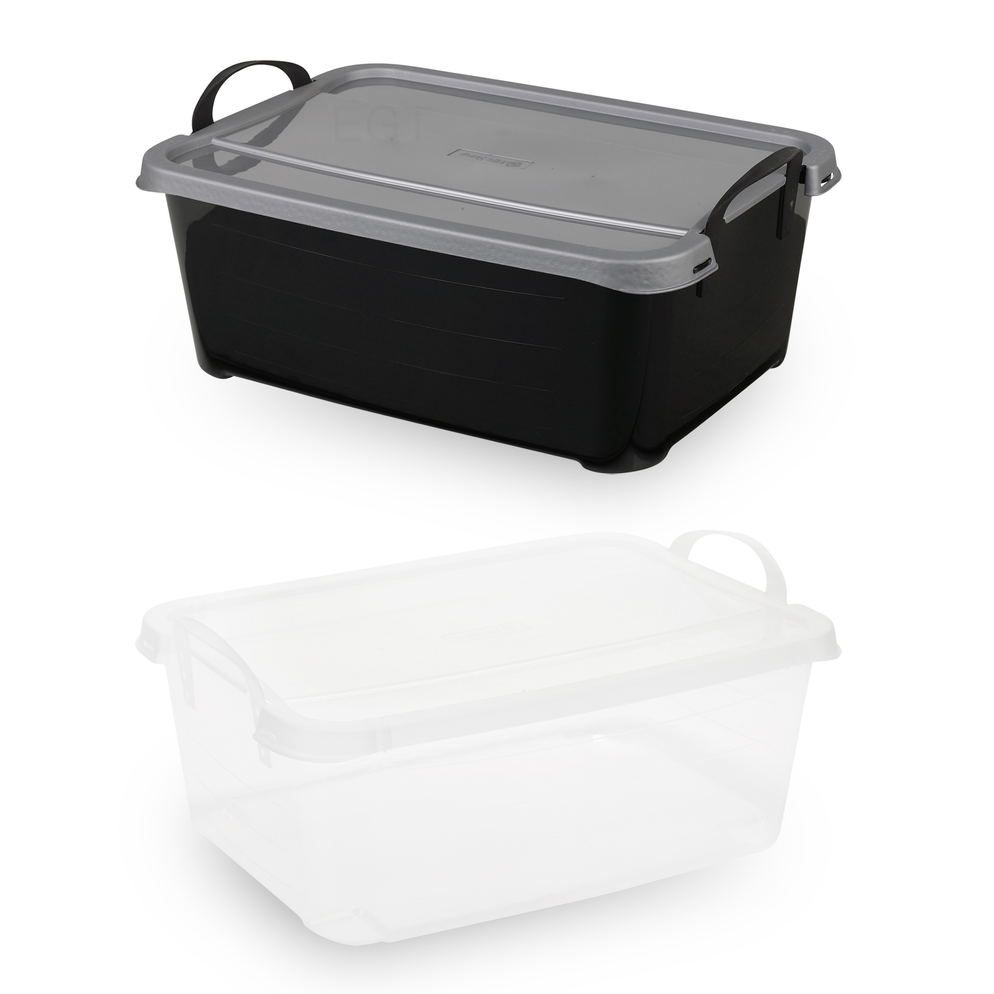 underbed plastic storage boxes with lids carry handles. Black Bedroom Furniture Sets. Home Design Ideas