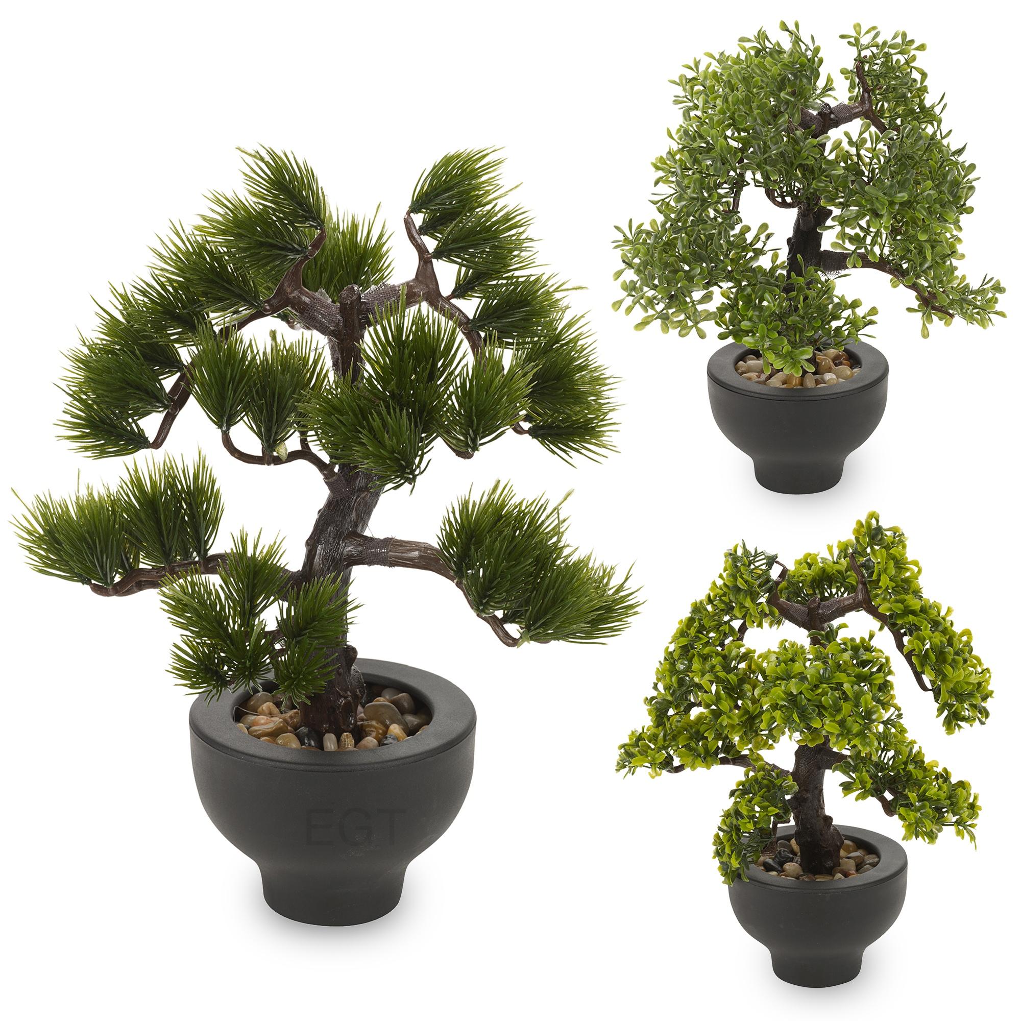 Artificial Office Desk 33cm Bonsai Tree Black Plant Pot
