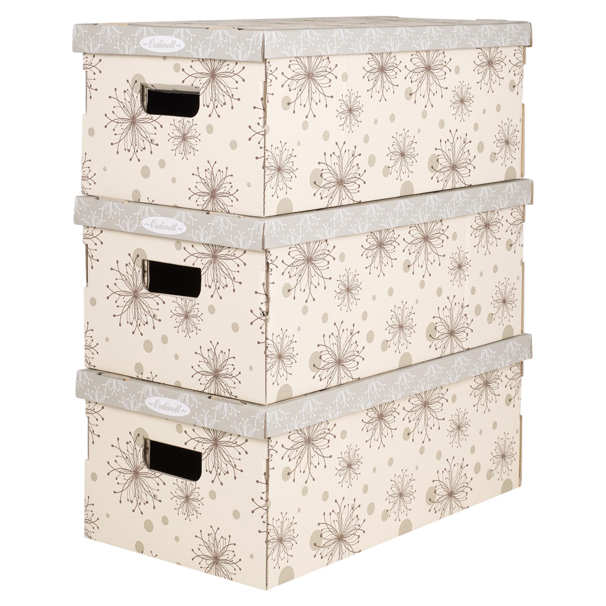 Juego de 3 cart n cajas almacenaje con asas apilables for Cajas carton almacenaje