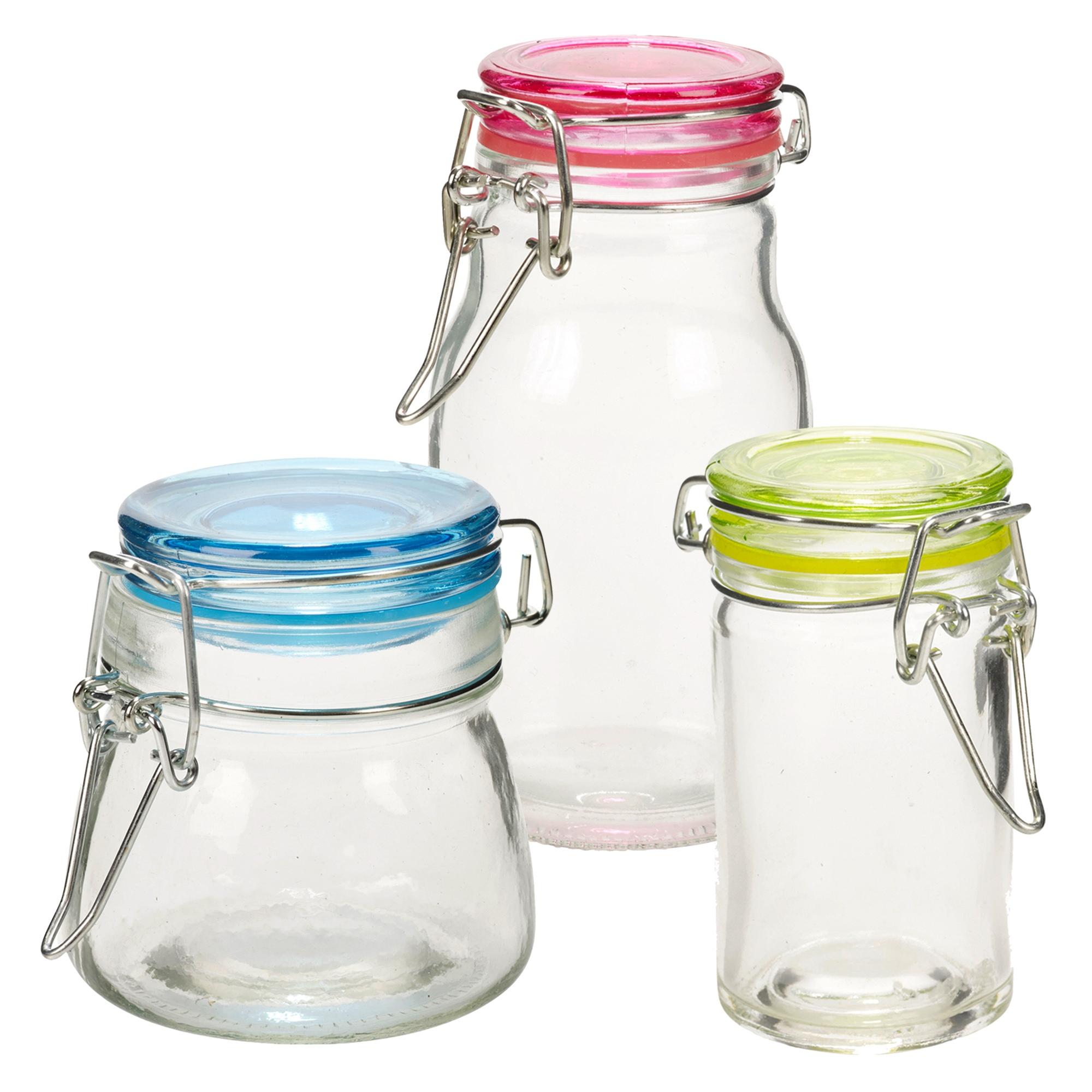 Set Of 3 Small Glass Storage Jar Metal Clamp Lid Air Tight