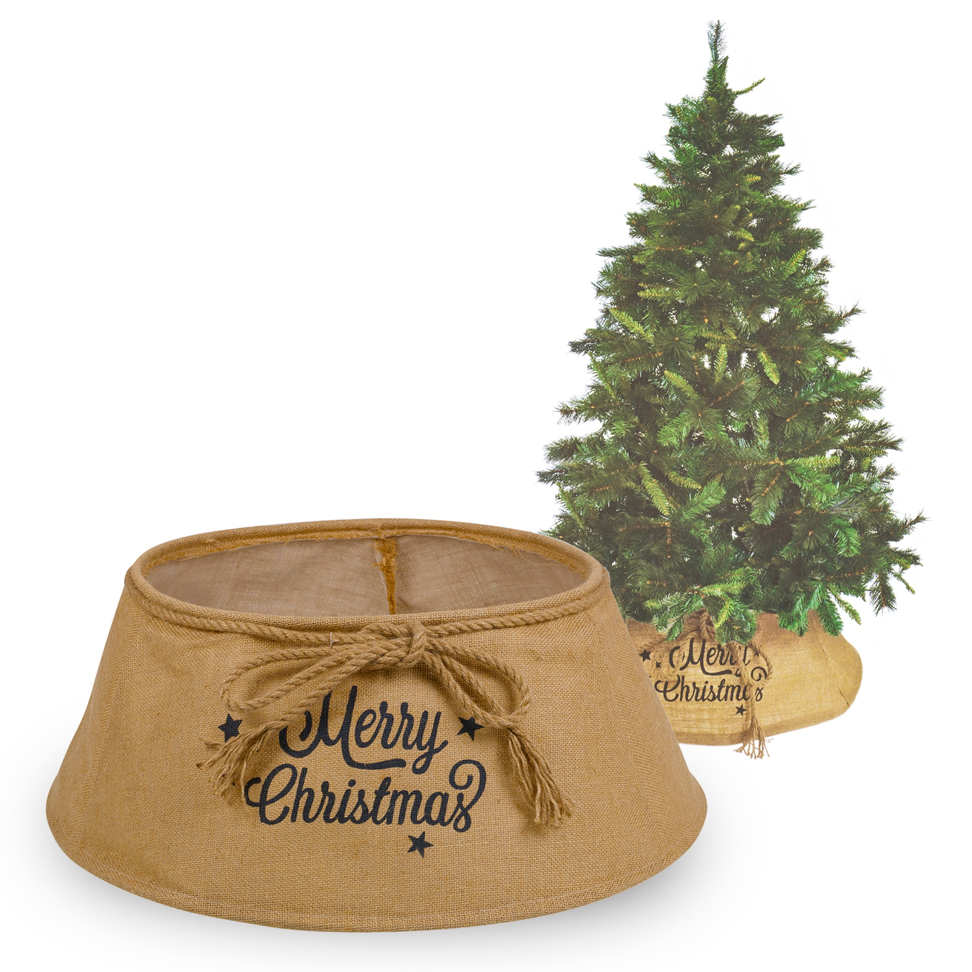 U00c1rbol De Navidad Falda Natural Arpillera Saco u0026#39;Feliz Navidadu0026#39;S Marru00f3n Decoraciu00f3n Fiesta | eBay