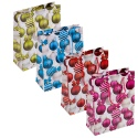 Assorted Colours Single Christmas Gift Bag - Baubles Design [619631]