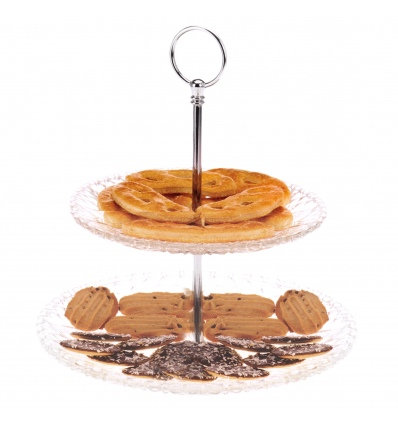 2 Tier Cut Glass Style Cake Stand [880049]