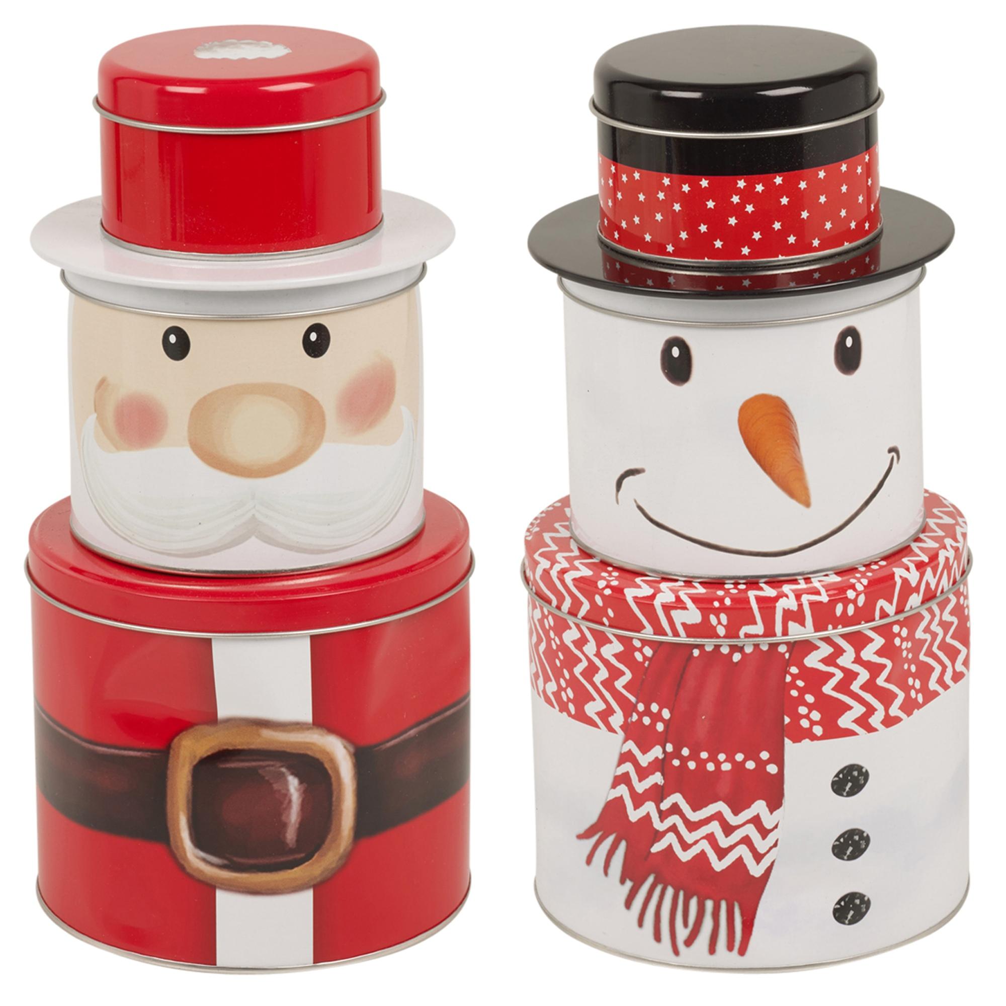 Christmas Themed Biscuit Cookie Tin Jar Metal Dry Food Tea ...