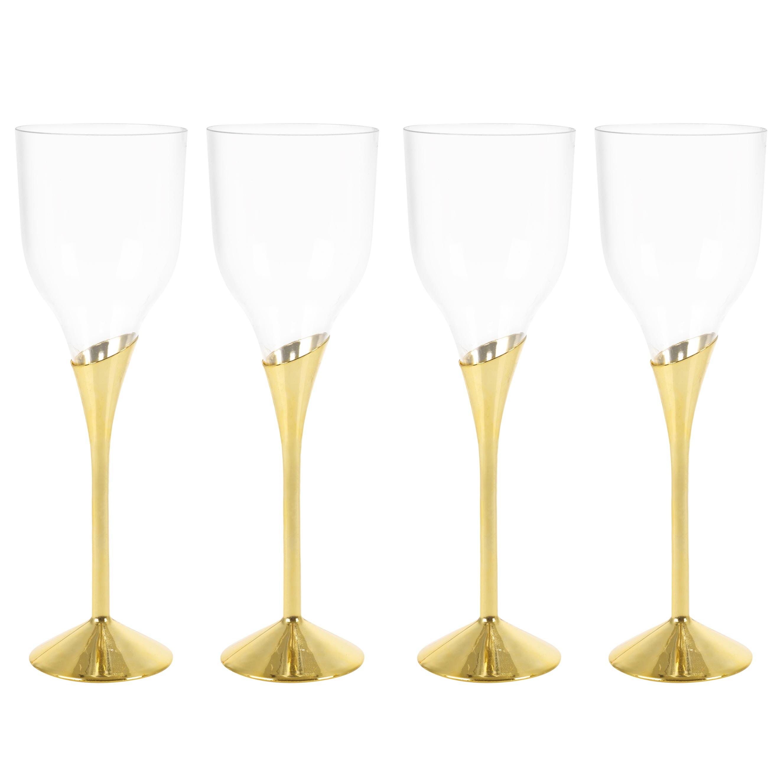Plastic Wine Champagne Glasses Gold Silver Disposable