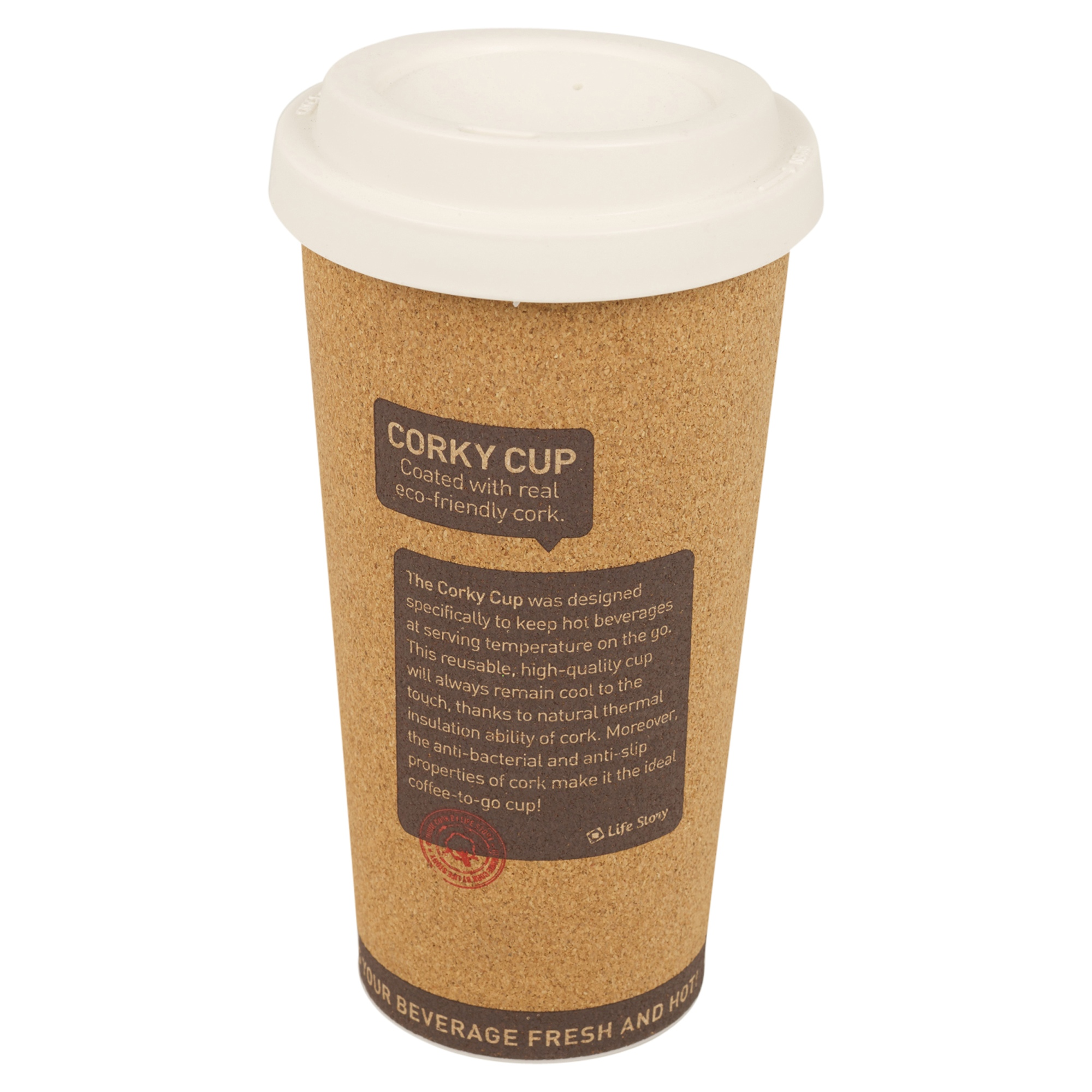 Cork Insulated Hot Cup 500ml Reusable Eco Friendly With Lid on The Go