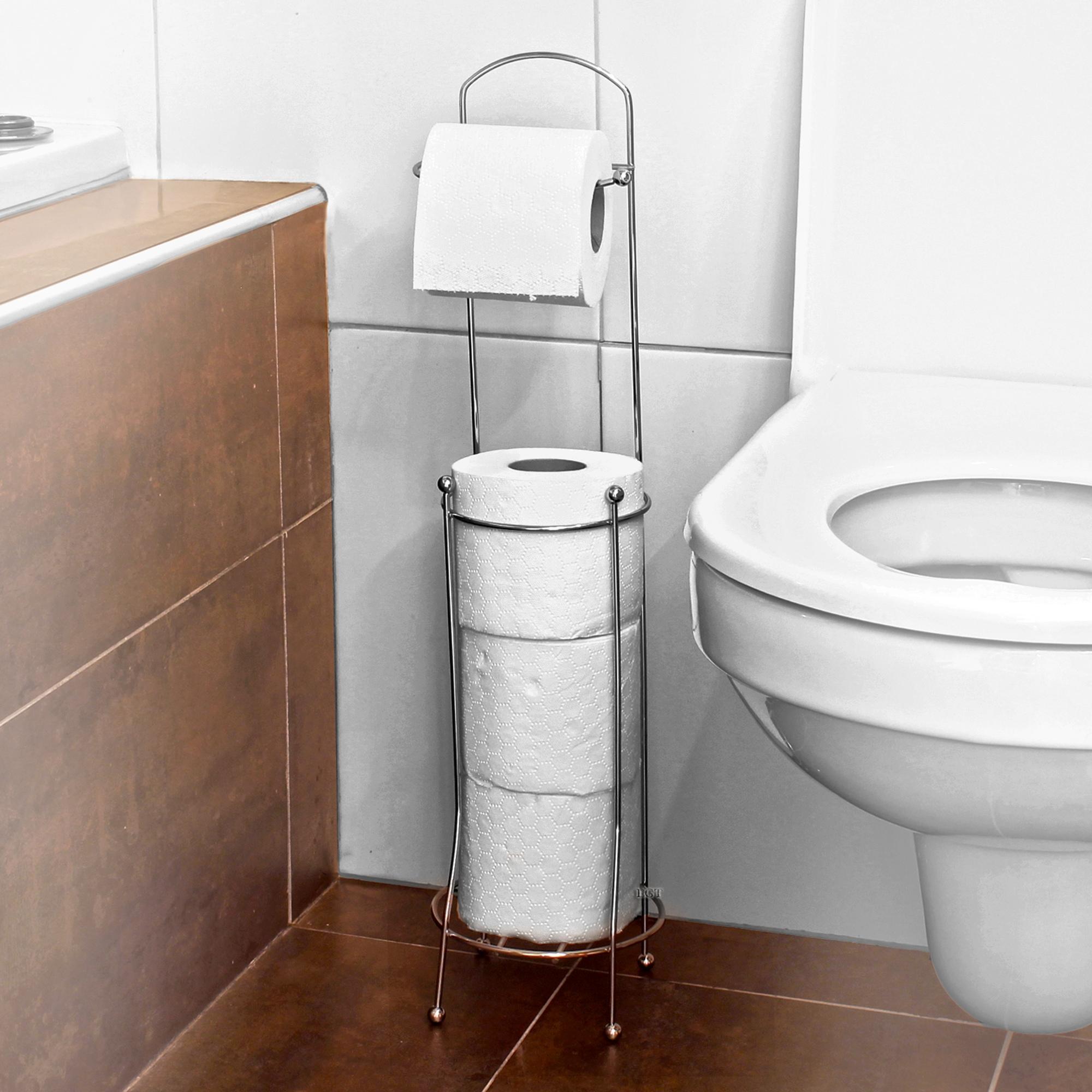 Free Standing 4 Roll Chrome Toilet Paper Tissue Dispenser Storage Holder Stand
