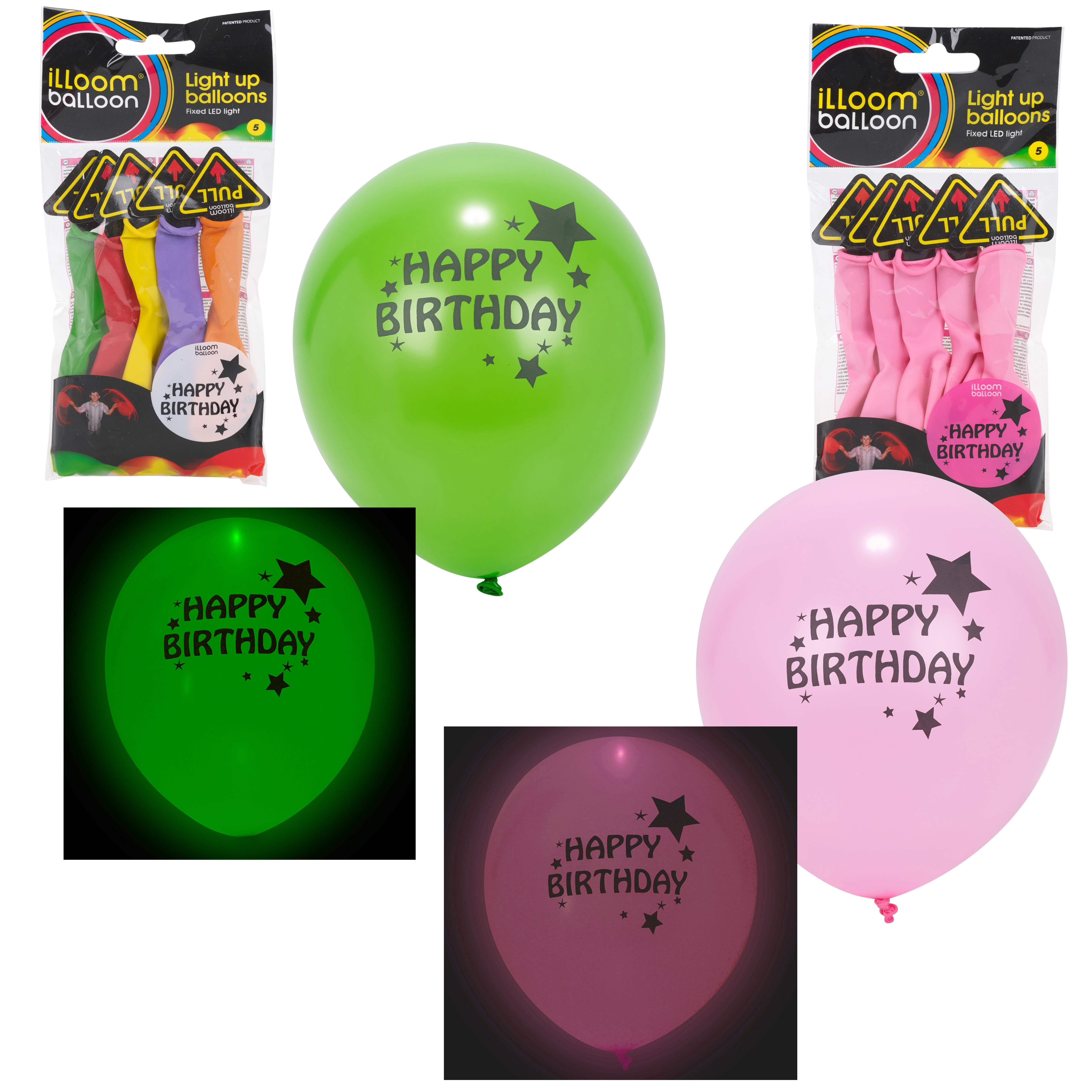 Details About Illoom LED Light Up Glow Balloon Happy Birthday Party Decoration Multi Pack NEW