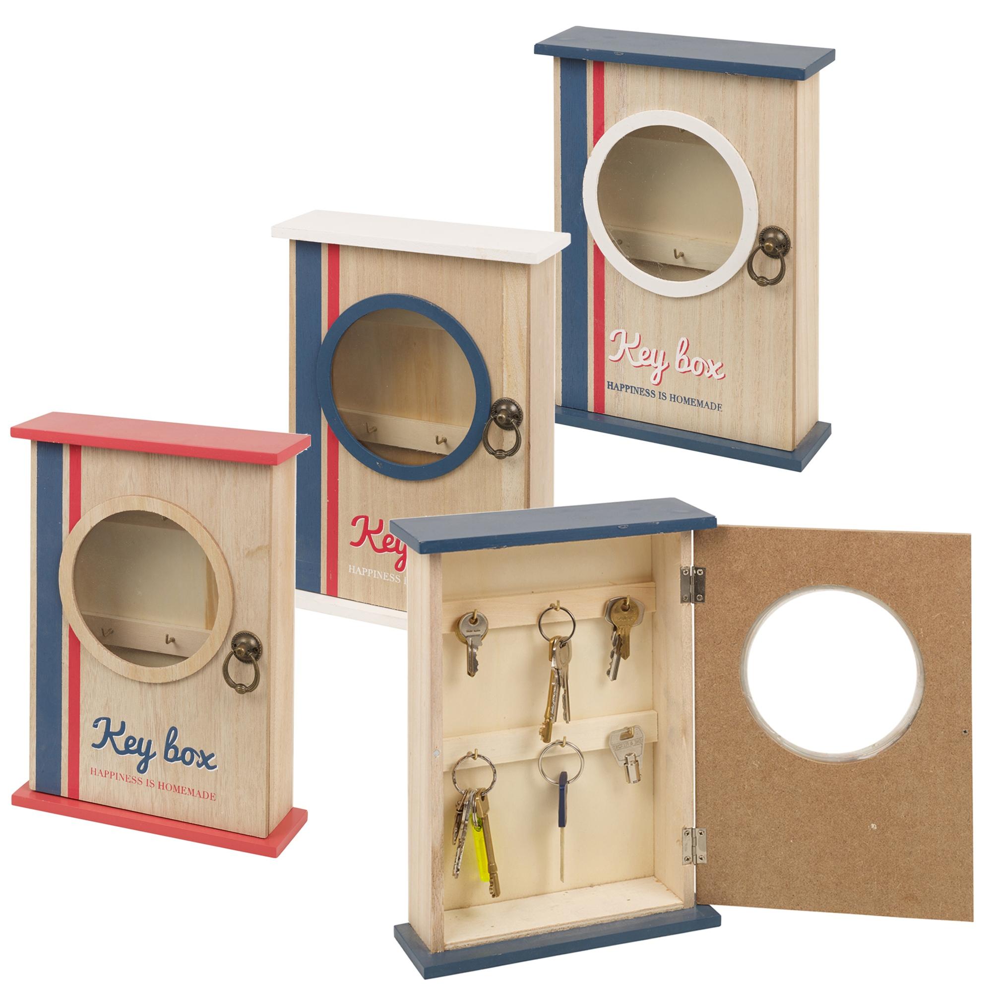 6 hooks wooden key box magnetic door lock closure wall