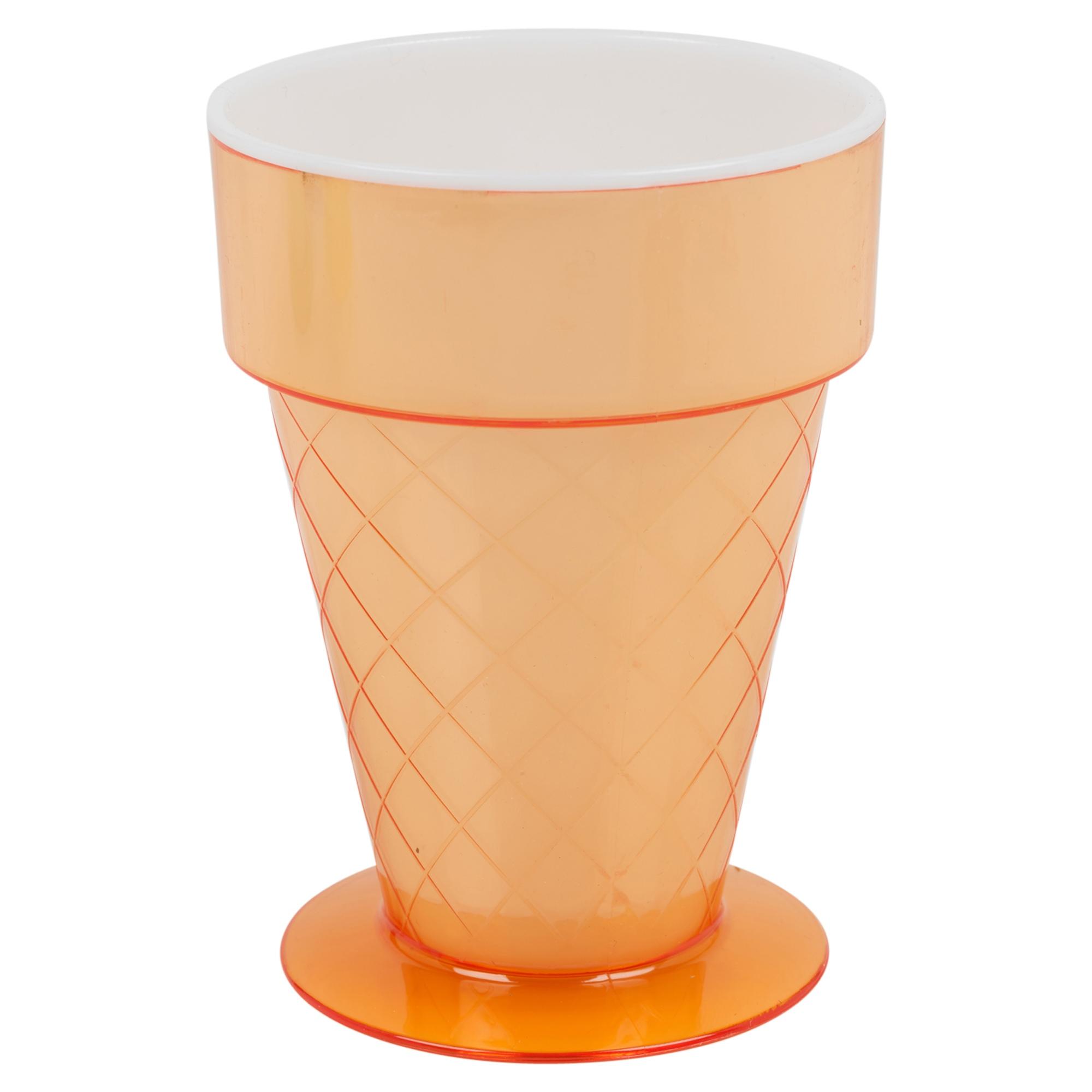 Set Of 4 Plastic Ice Cream Cups 300ml Fruit Punch Dessert