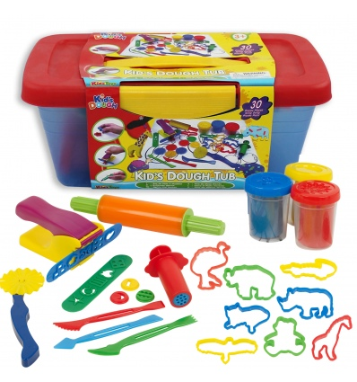 34 Pcs Kids Dough With Blue Amp Red Tub 11805 435630