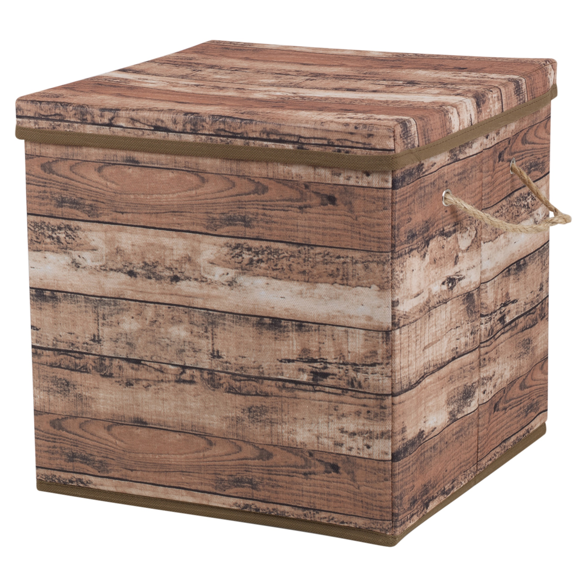 Wood design storage box handles rope lidded collapsible