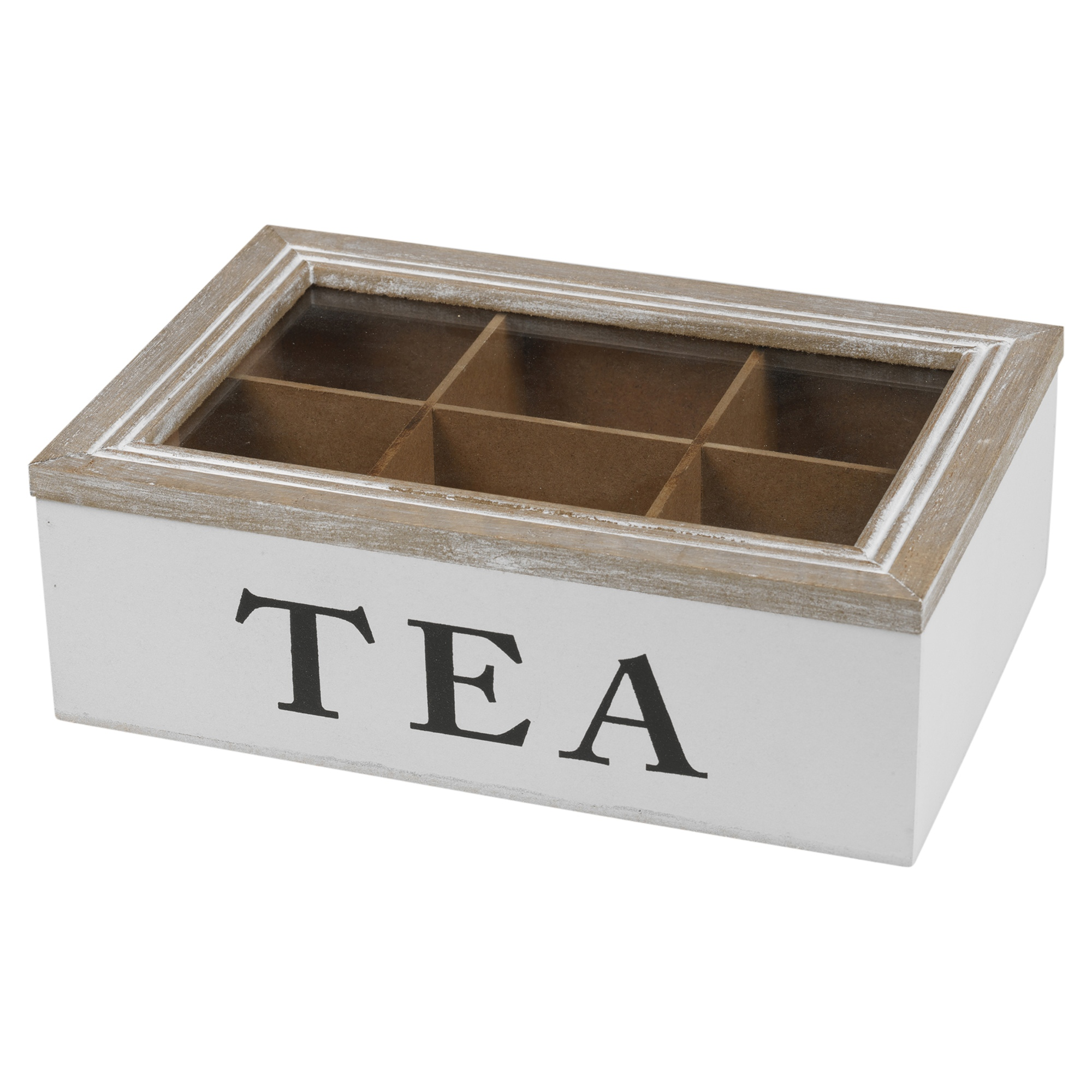 6 section wooden tea box glass hinged lid kitchen storage