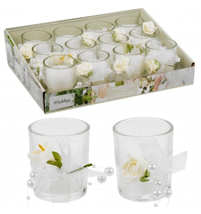 Scented Wedding Candle In Glass With Deco Flower [535203]