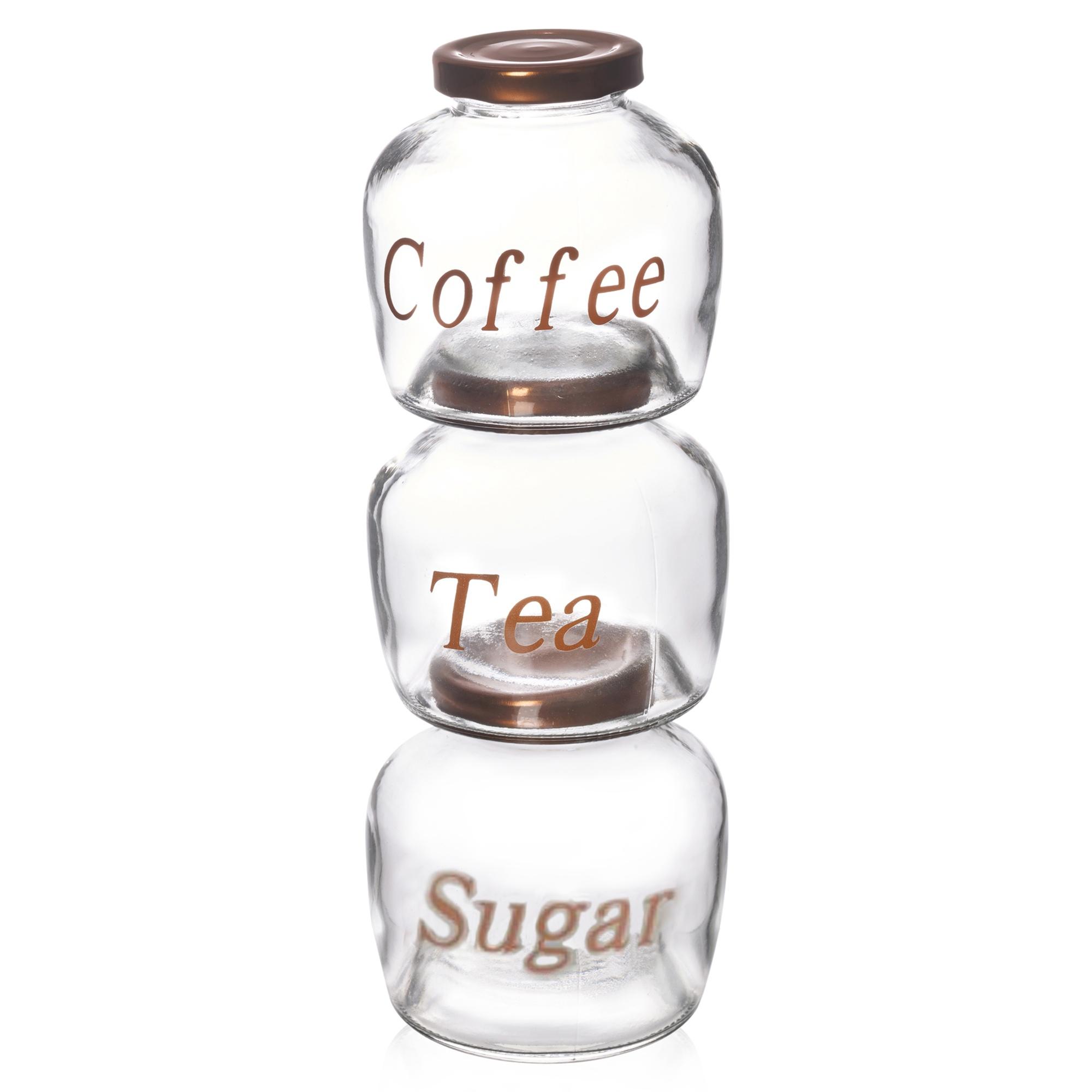 set of 3 tea coffee sugar glass jar 400ml canister jam. Black Bedroom Furniture Sets. Home Design Ideas