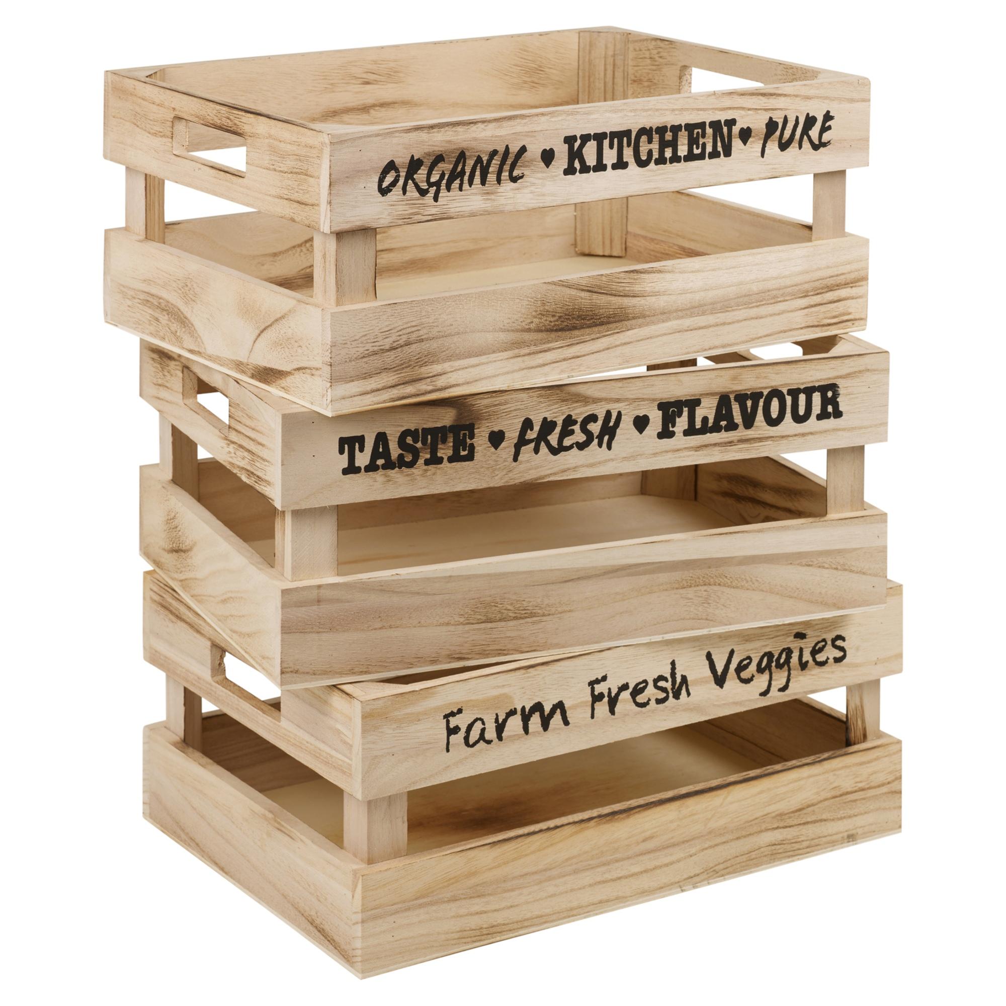 set of 3 vintage wooden storage box crate carry handles fruit veg kitchen home 8719202025873 ebay. Black Bedroom Furniture Sets. Home Design Ideas