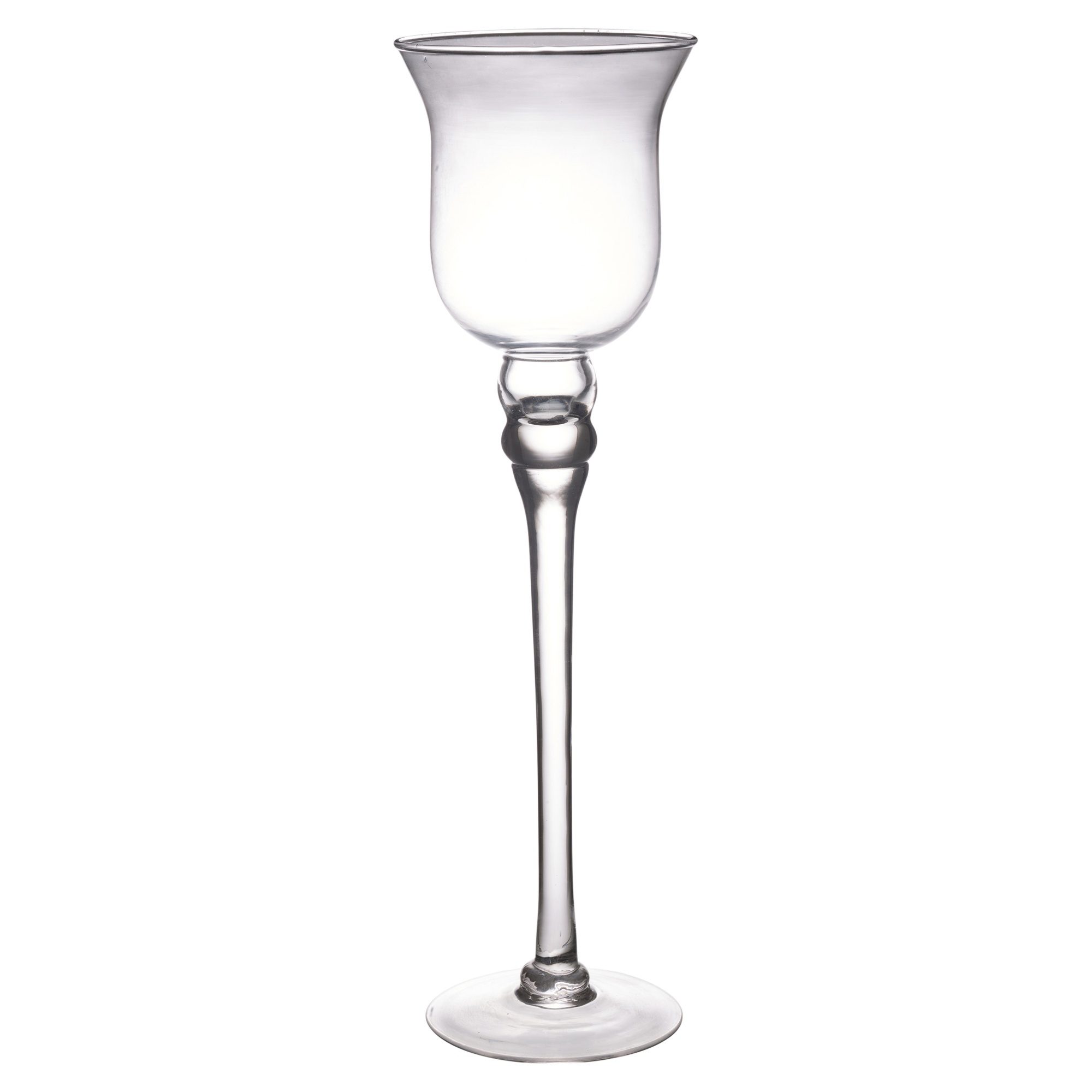 Set of tall glass candle holders large centerpiece tea
