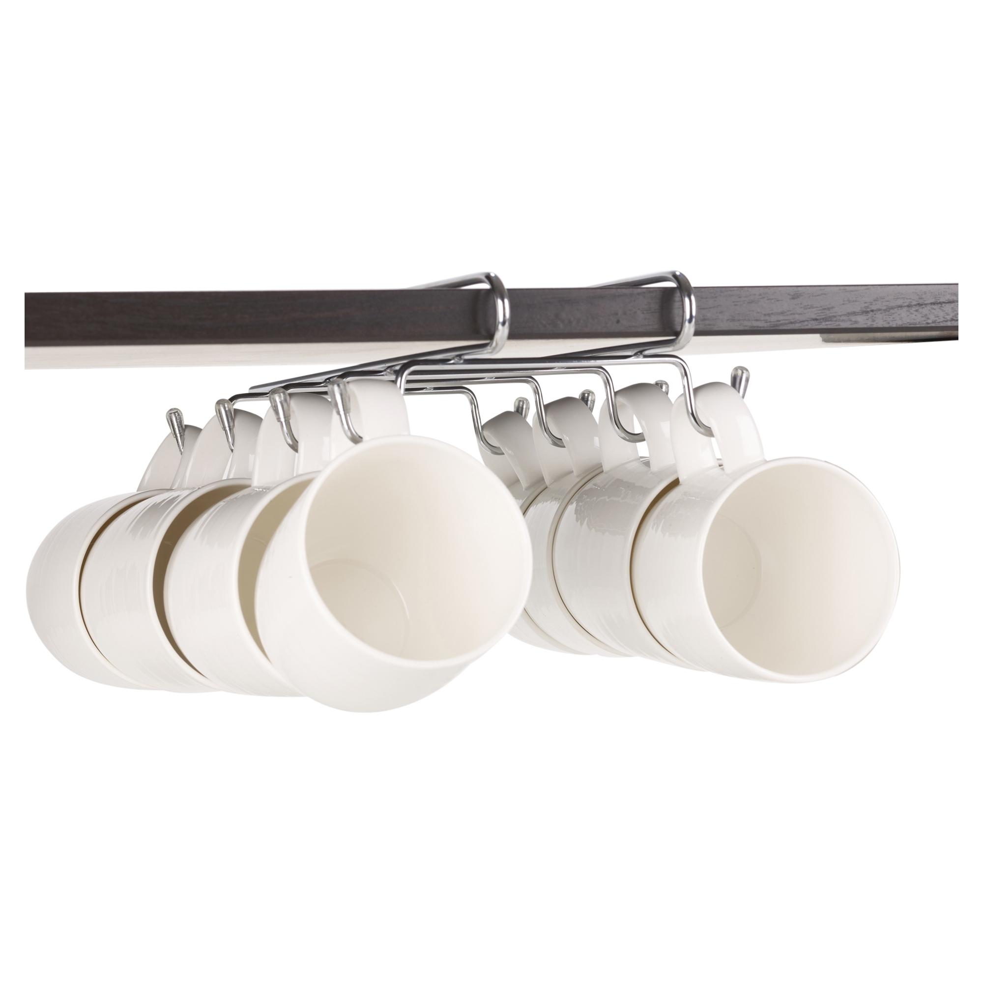 8 hook silver chrome mug rack cup holder under shelf cabinet organiser storage ebay. Black Bedroom Furniture Sets. Home Design Ideas