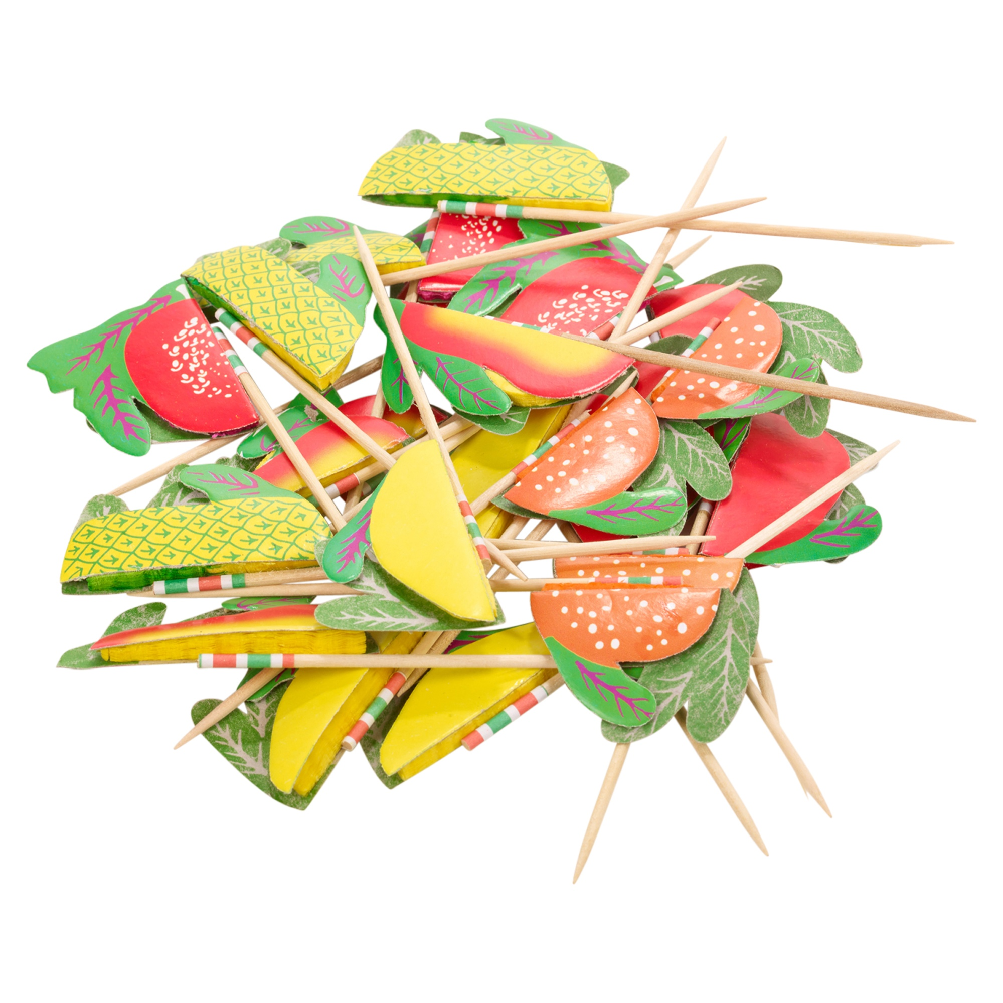 Paper fruit cocktail picks drinks snack skewers party for Canape cocktail sticks