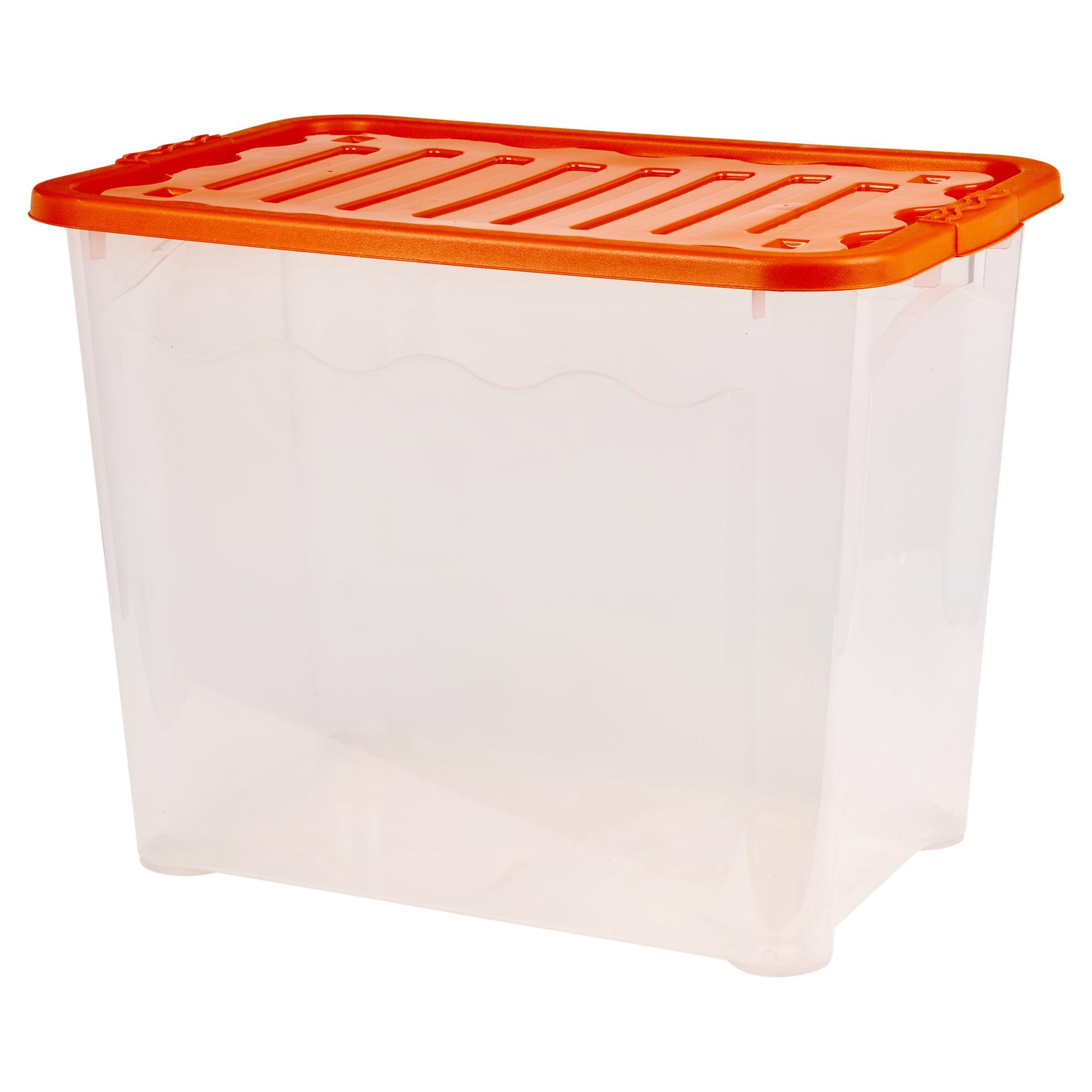 2er set plastik 74 liter aufbewahrungsboxen xl beh lter mit deckel stapelbar ebay. Black Bedroom Furniture Sets. Home Design Ideas