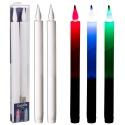 2 Multi Coloured LED Dinner Candles 29cm [6959]