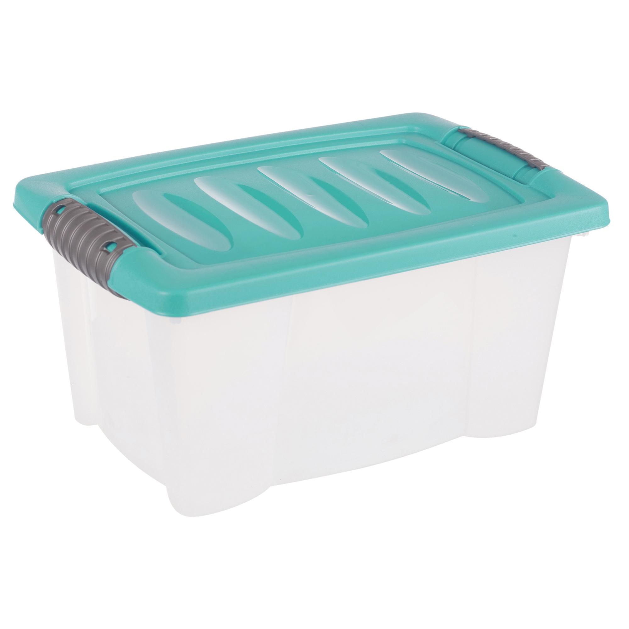 set of 3 small plastic storage boxes click lid desktop shelf container tubs home ebay. Black Bedroom Furniture Sets. Home Design Ideas