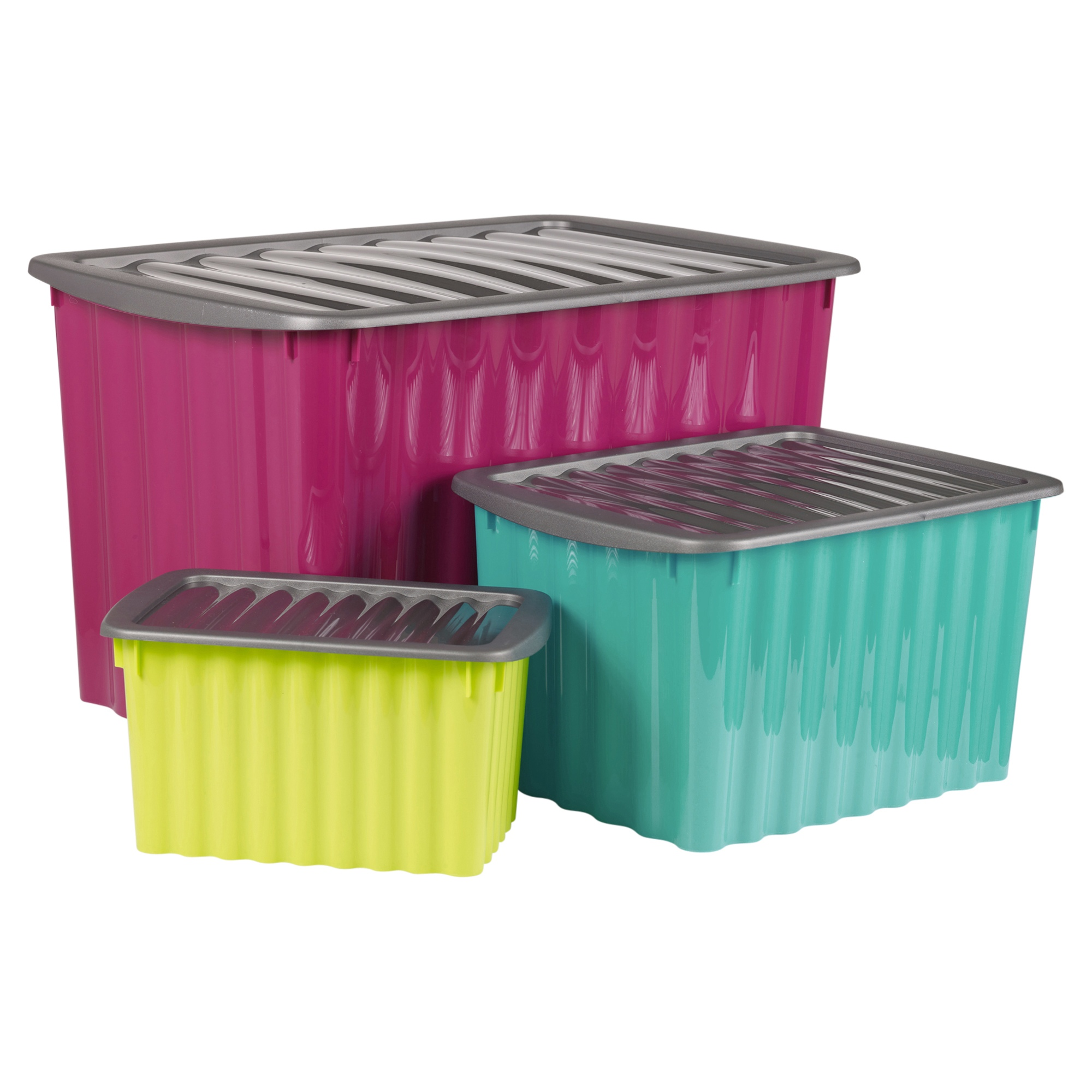 Plastic Storage Box Click Lid Quality Stackable Ripple