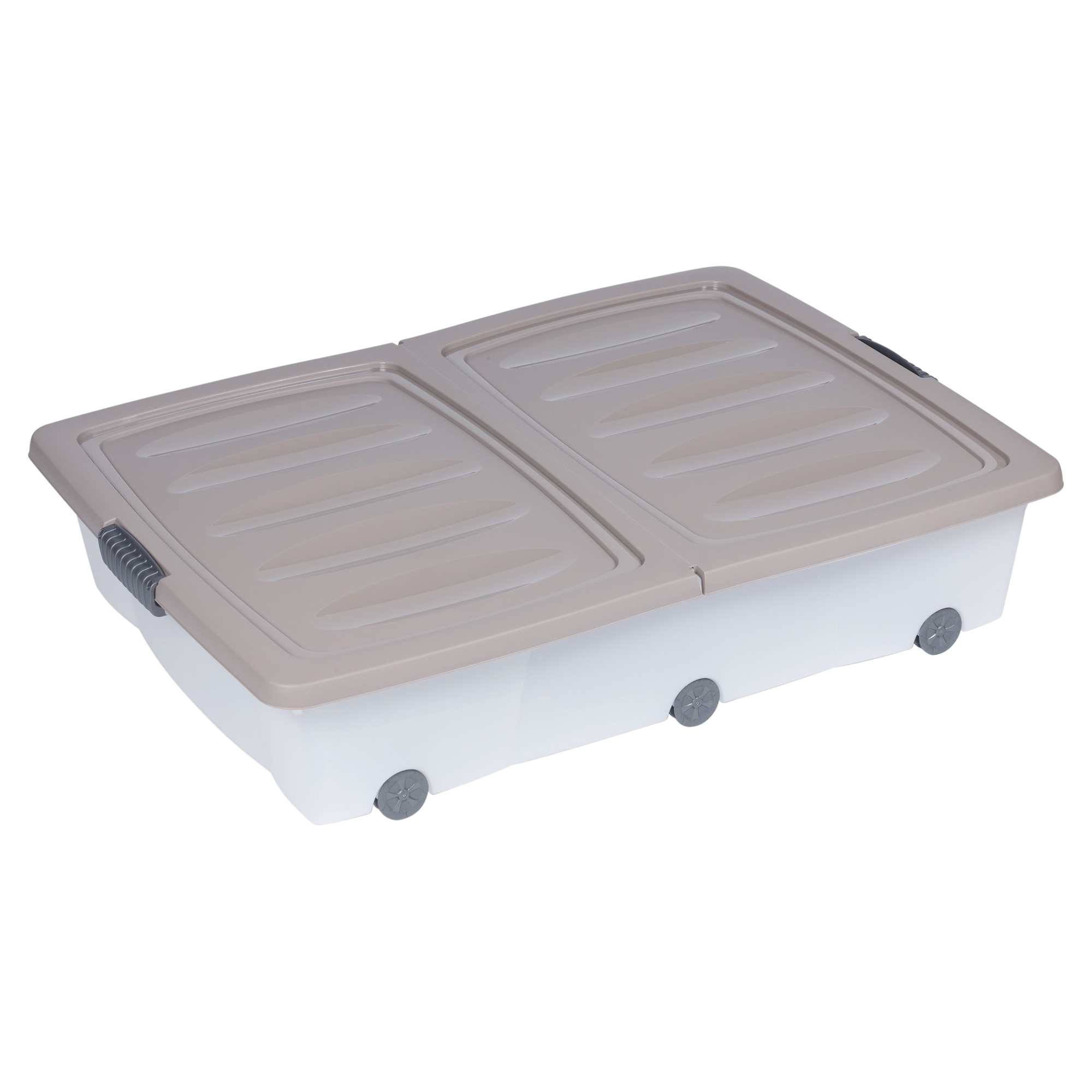 70 Litre Large Under Bed Plastic Storage Box Wheeled W